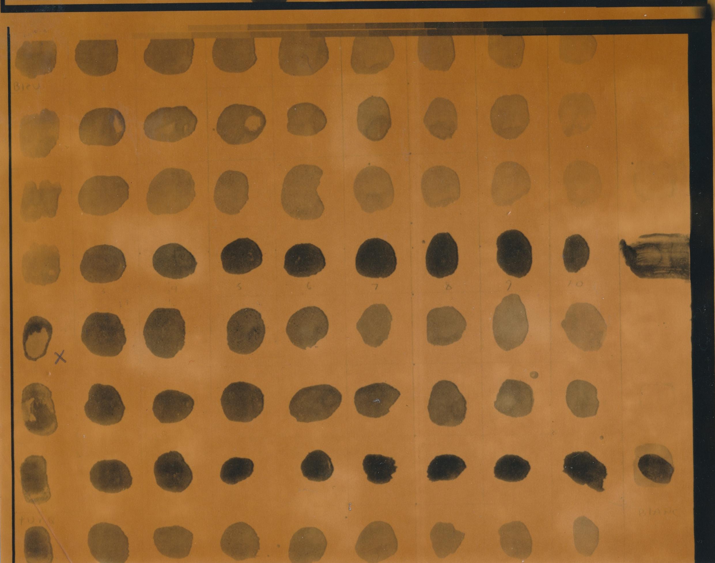 Document passé dans la machine photolaser : Test de couleurs 1. /  © Yvon Gallant 1982