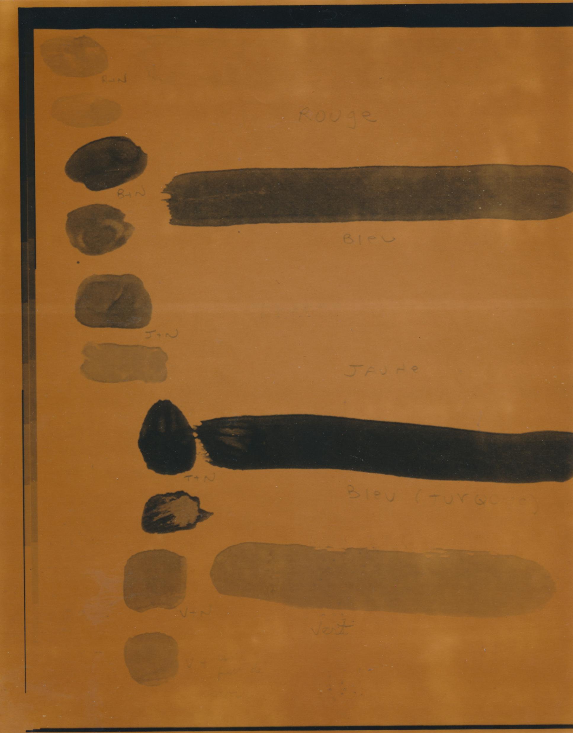 Document passé dans la machine photolaser : Test de couleurs 2. /   © Yvon Gallant 1982