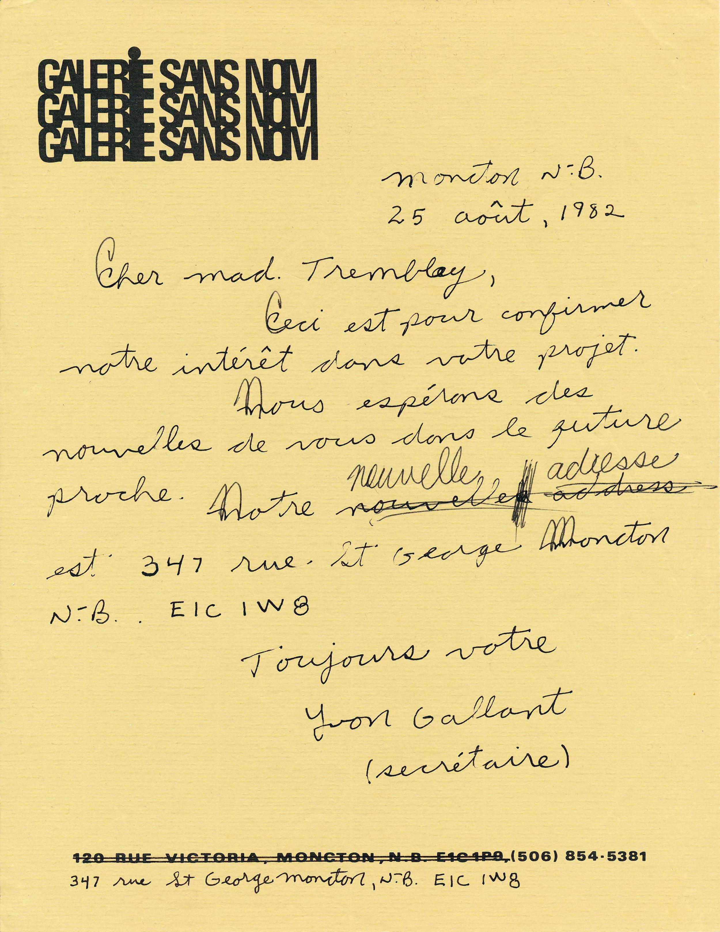 Document original : Lettre d'Yvon Gallant confirmant la participation de la Galerie Sans Nom au projet LASART.