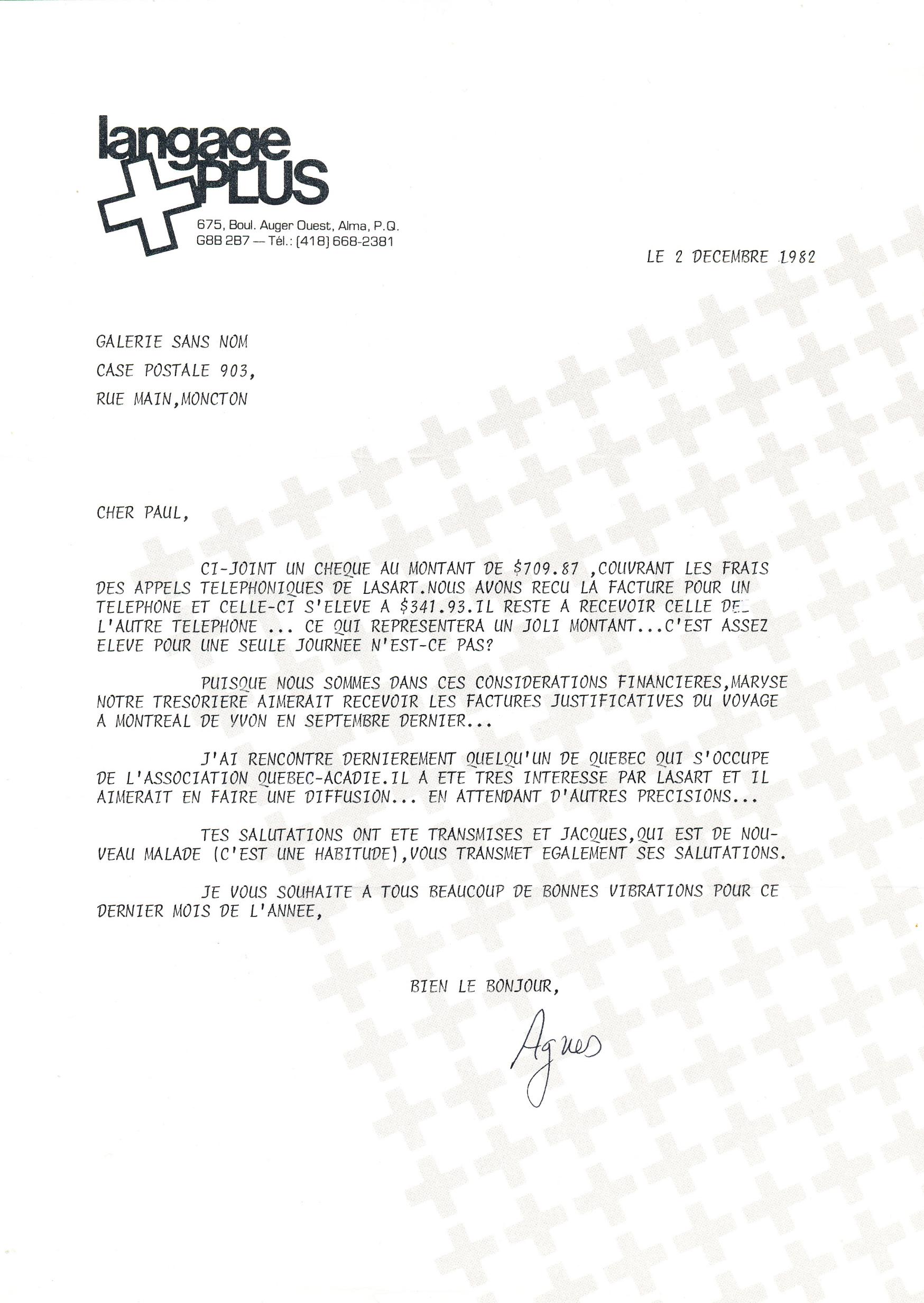 Document original : Lettre à Paul Édouard Bourque ( Galerie Sans Nom ) de la part d'Agnès Tremblay ( Langage Plus ) discutant les factures téléphoniques reliées au projet LASART..