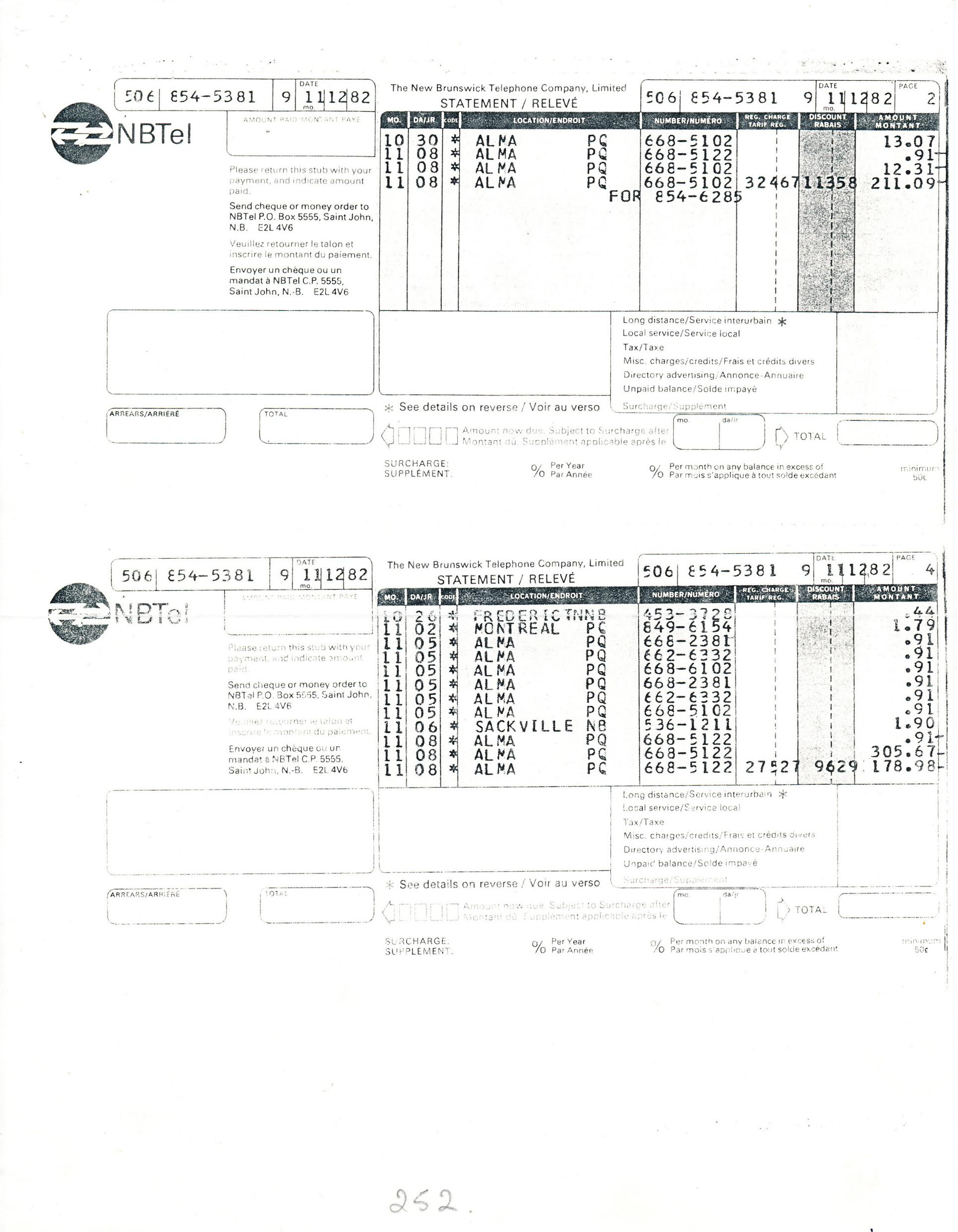 Document original : Factures téléphoniques - Galerie Sans Nom