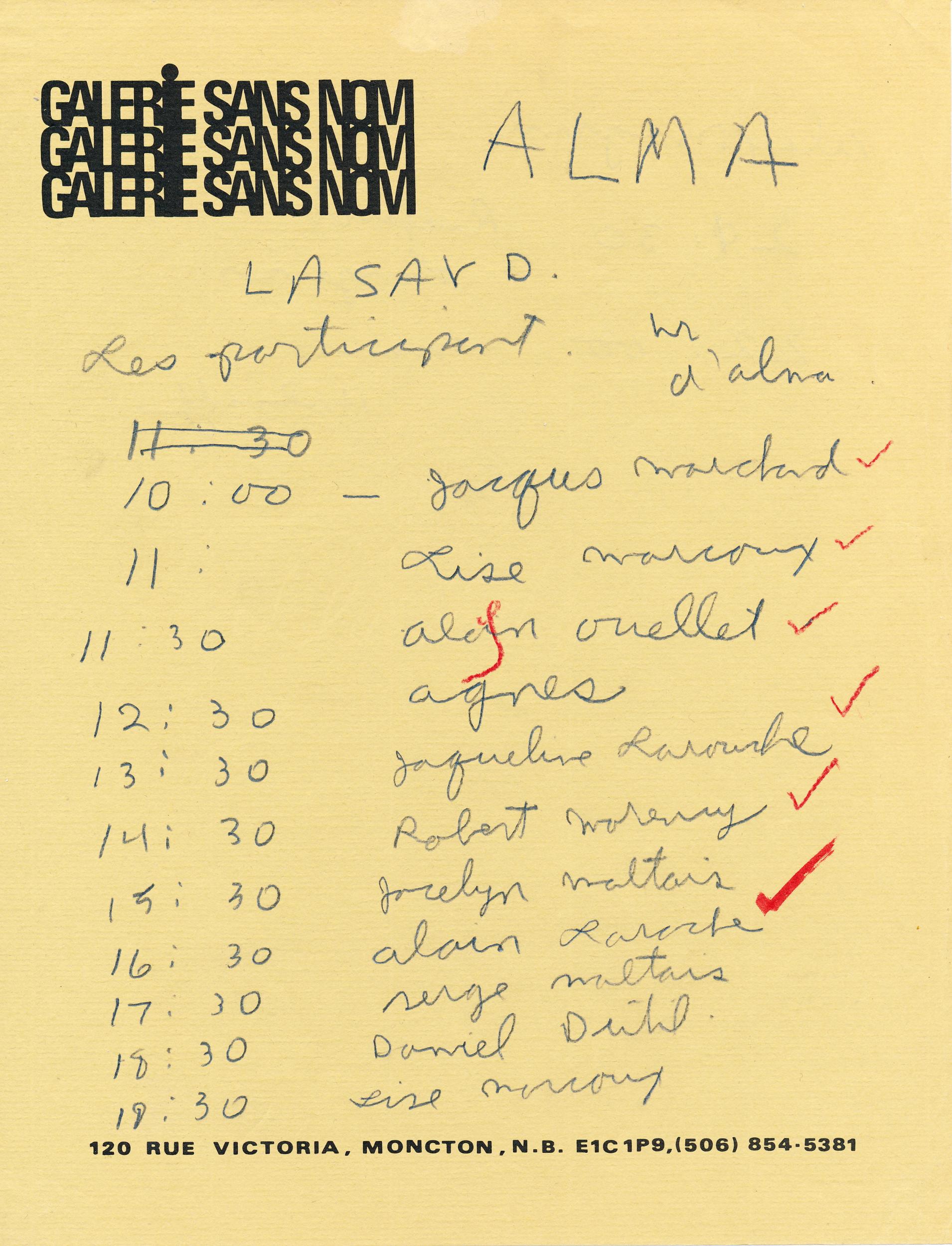 Document original : Horaire du Jour J ( 8 novembre 1982 ) - Alma.