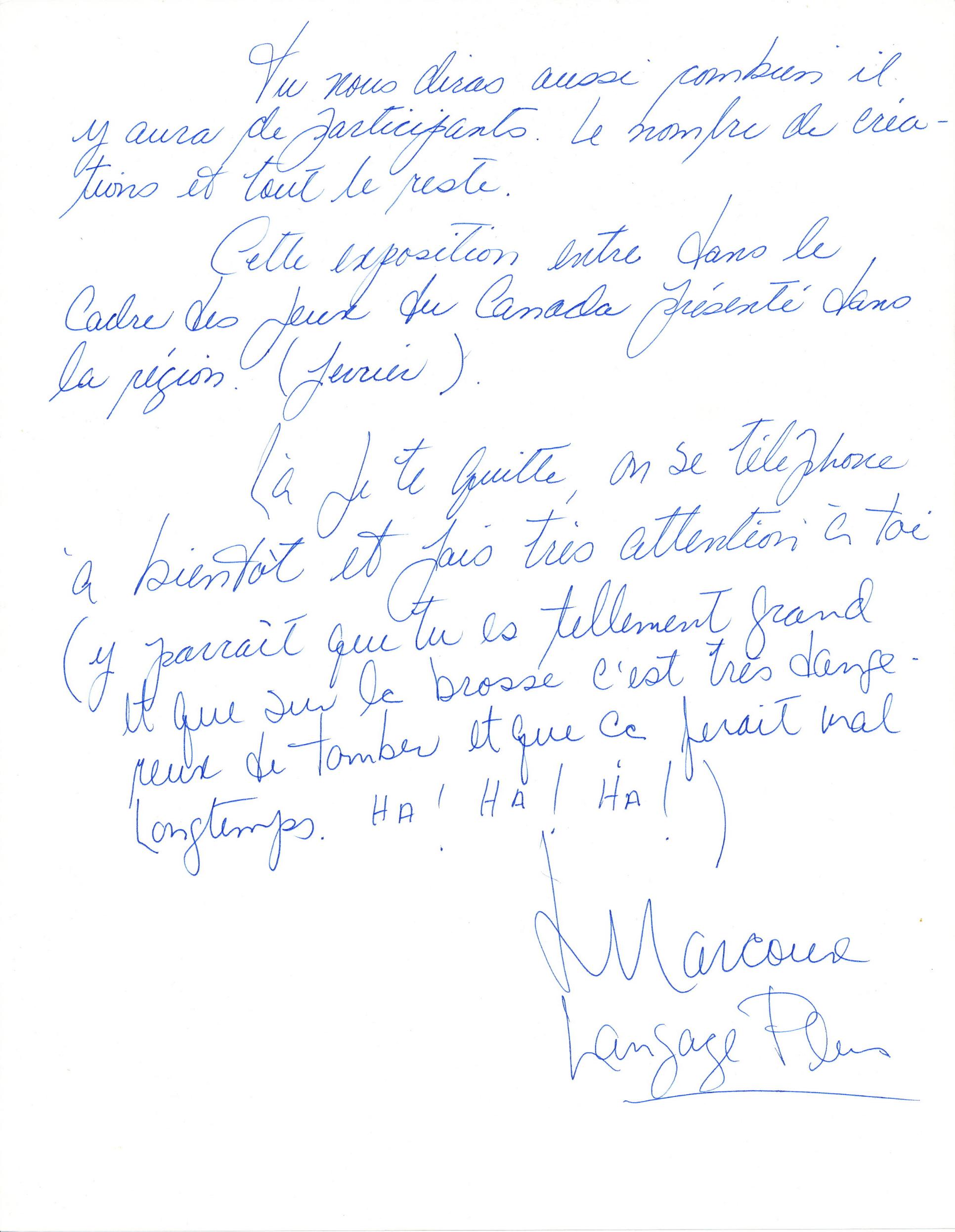 Document original : Lettre à Paul Édouard Bourque (Galerie Sans Nom)  de la part de Lise Marcoux (  Langage Plus ). 2  /2