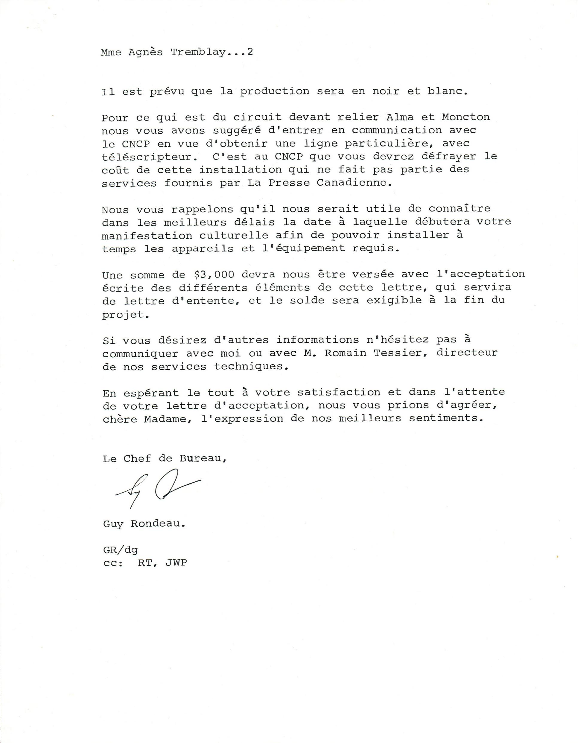 Document original : Lettre à Agnès Tremblay ( Langage Plus) de la part de La Presse Canadienne confirmant le prêt des machines. 2/2