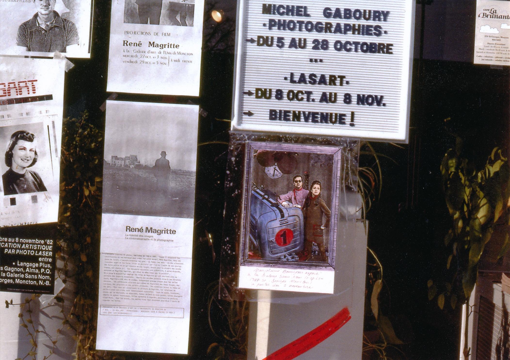 Vitrine de la Galerie Sans Nom, 347 rue St-George,Octobre/Novembre 1982.