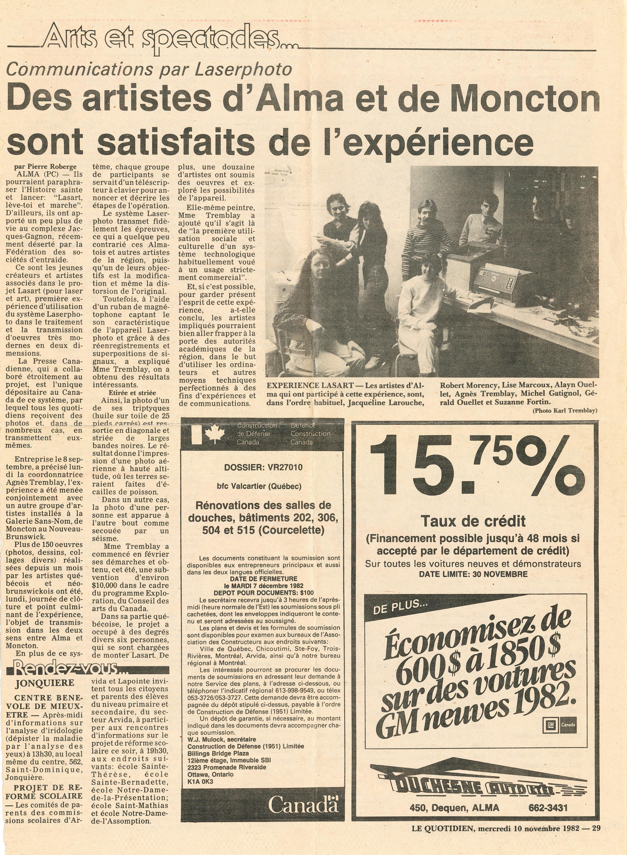 Document original : Article de presse, Le Quotidien, 10 novembre 1982.