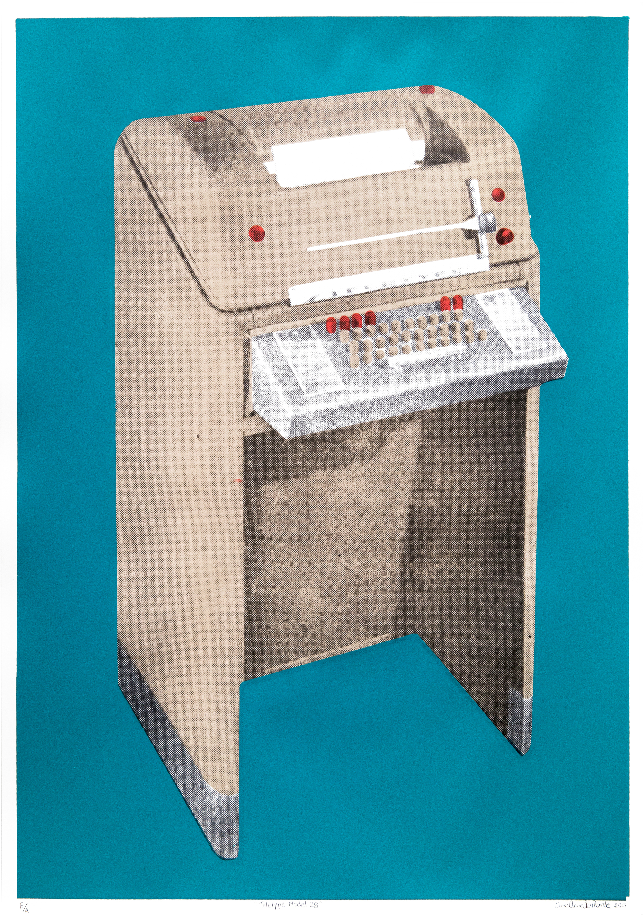 """ Teletype Model 28"", sérigraphie, 2015.  /   © Elise Anne LaPlante 2015  /  Photo : Annie France Noël"