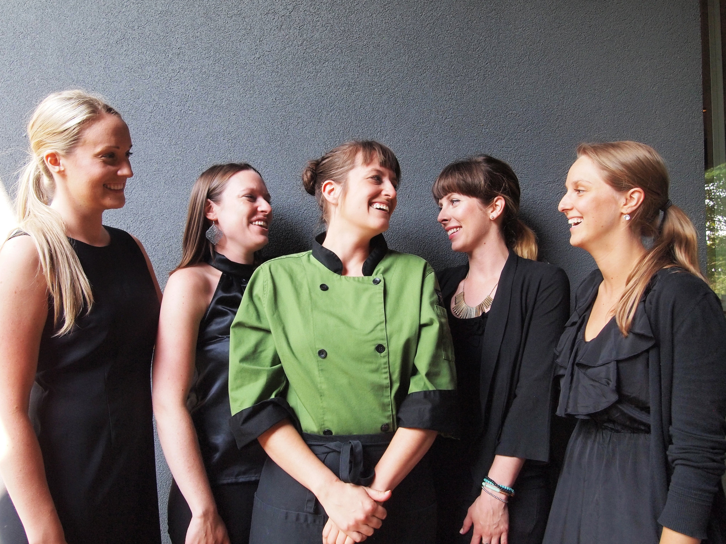 Look for these beautiful gals at your next event! From right to left: Stephanie WIlliams, Becky Stephenson, Chef Yoda, Nicole Kirkpatrick and Heather Nichols.