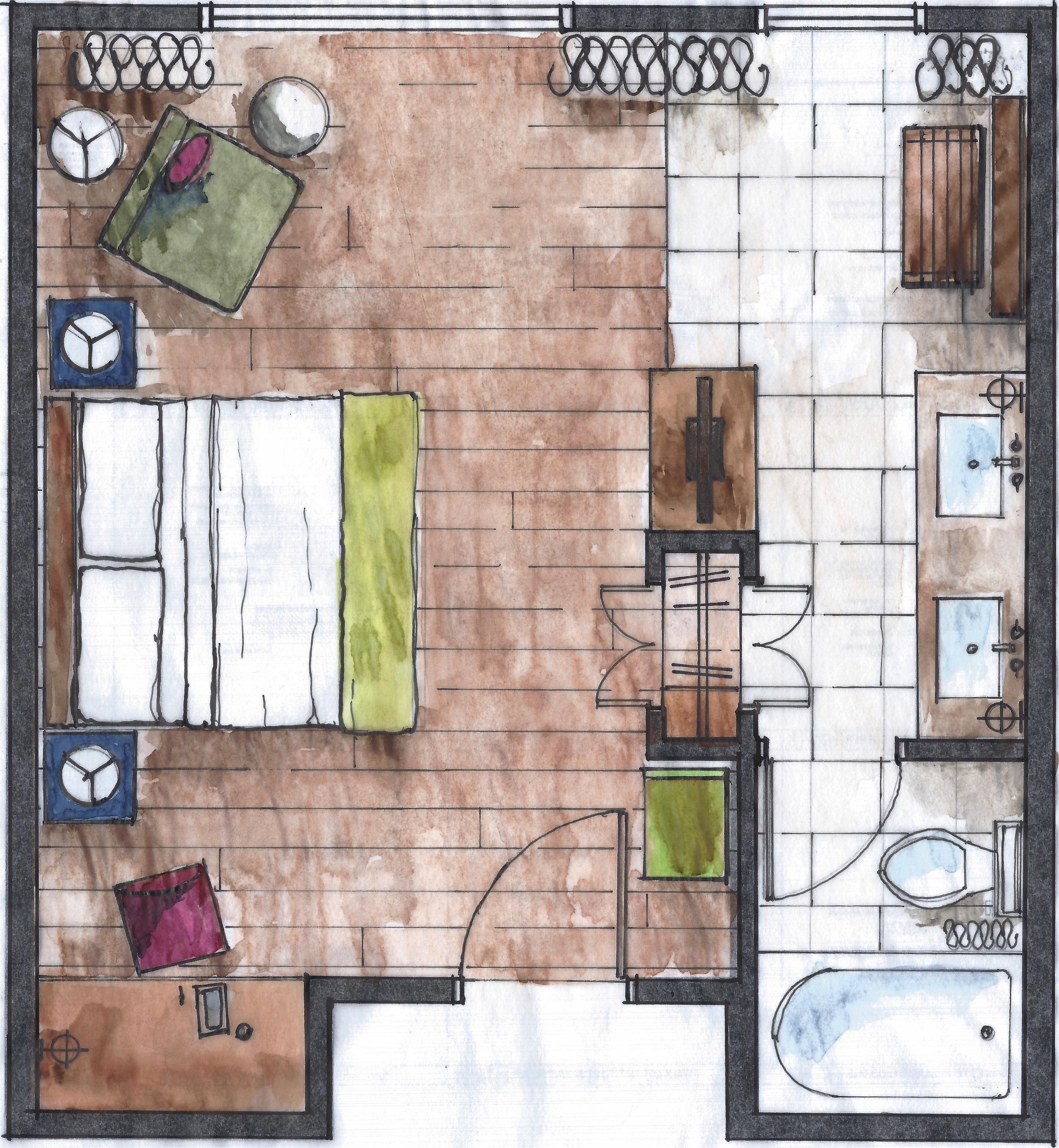 Watertown Hotel, Seattle WA  - King suite floor plan  with Degen & Degen