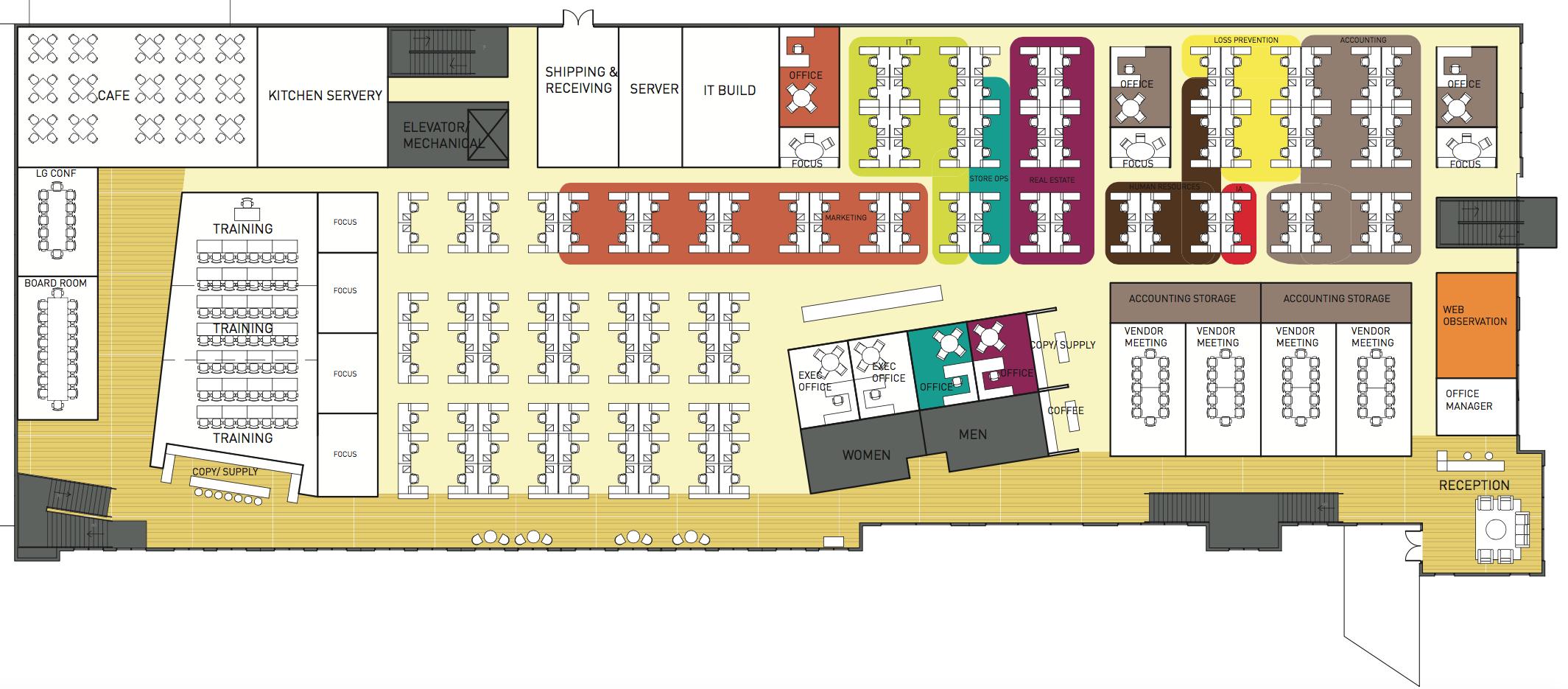Zumiez, Lynnwood WA, test-fit floor plan   with SkB architects