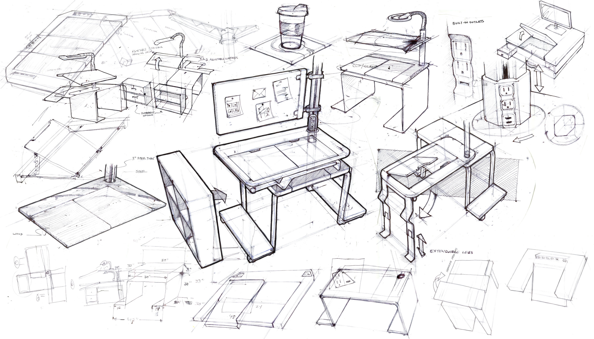 Axis Desk ideation sketches