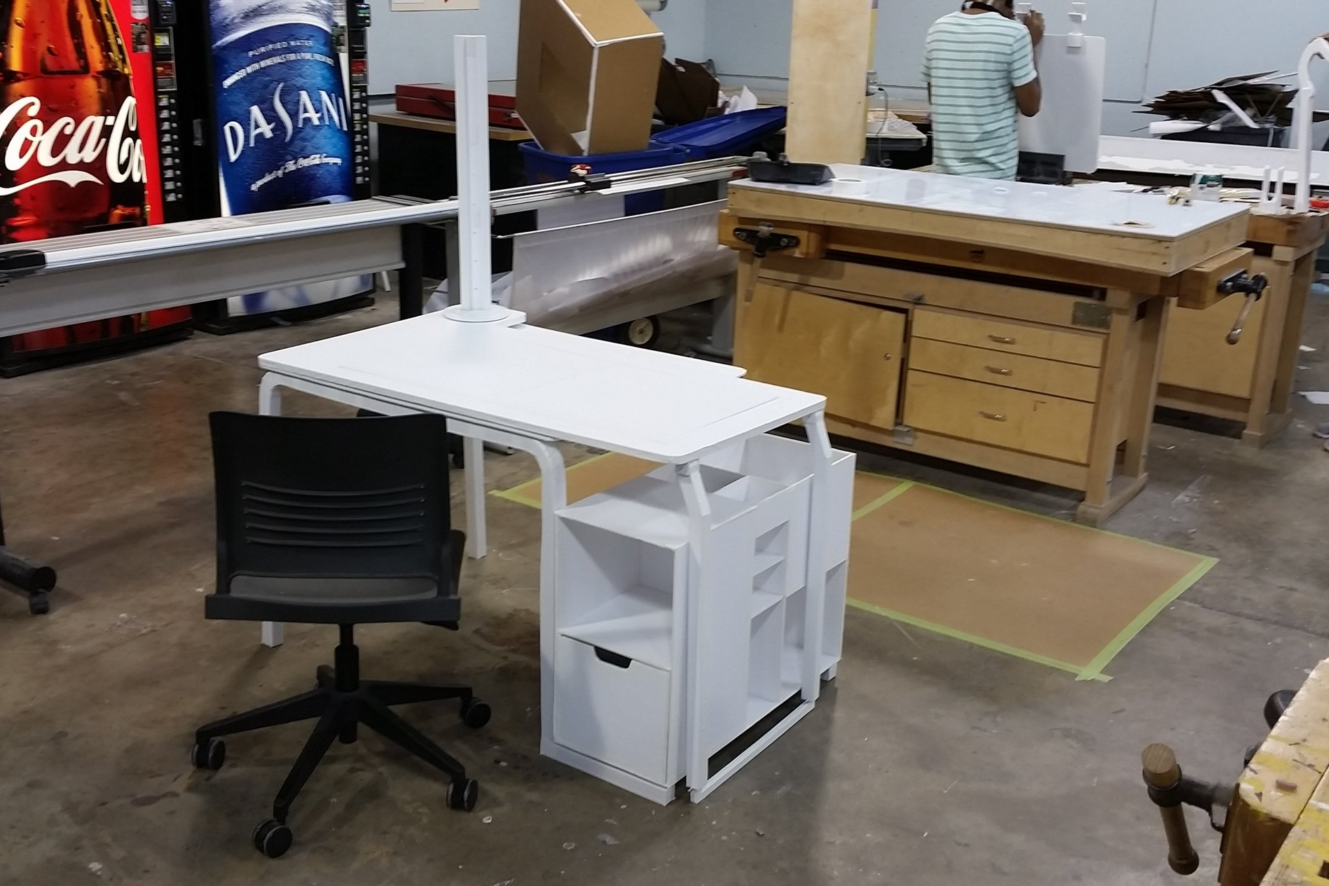 Early foamcore prototype of the Axis Desk.
