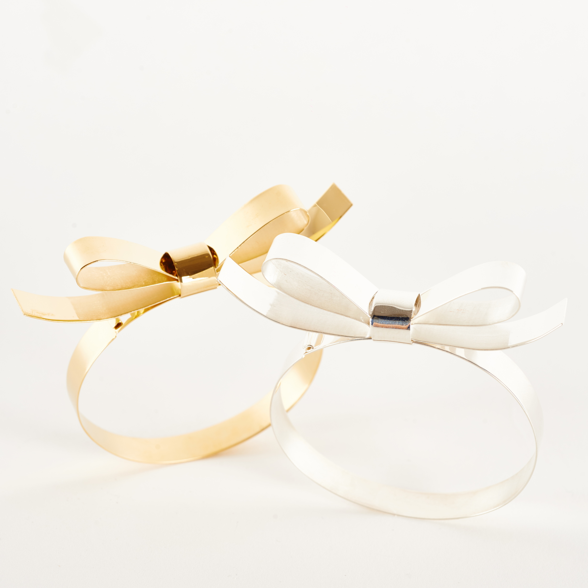 Handmade Silver 22 Carat Gold Bow Bangle Jewellery Jewelry