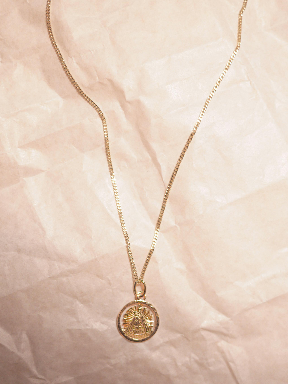 Madonnenkette zur TaufeBaptism Gift - 14 Karat Gelbgold Panzerkette mit Madonnenanhänger14 Carat Yellow Gold with Madonna Pendant