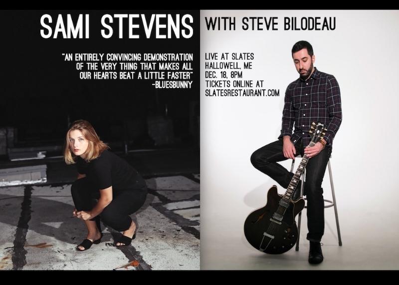 Event poster for Sami Stevens' upcoming show at Slate's Restaurant featuring Steve Bilodeau