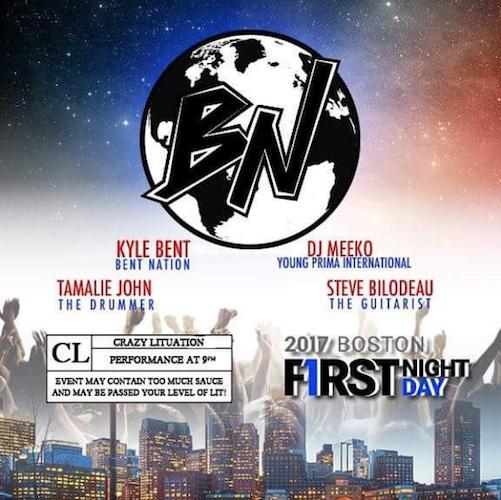 First Night Boston featuring Kyle Bent, DJ Meeko, drummer Tamalie John, and guitarist Steve Bilodeau