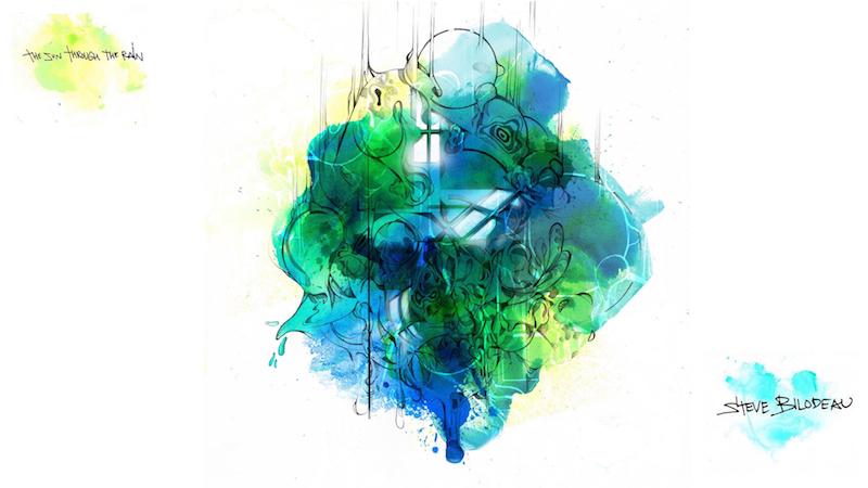 Album artwork for The Sun Through The Rain, Steve Bilodeau's third album. Artwork by Dom Laporte.