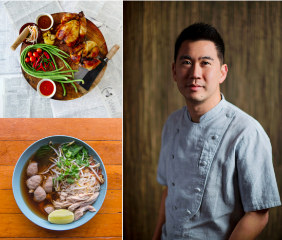 Rotisserie Chicken by Hong Studio Photography (top left), Chicken Pho by Darren Chuang (bottom left), Chef Angus portrait by Hong Studio Photography