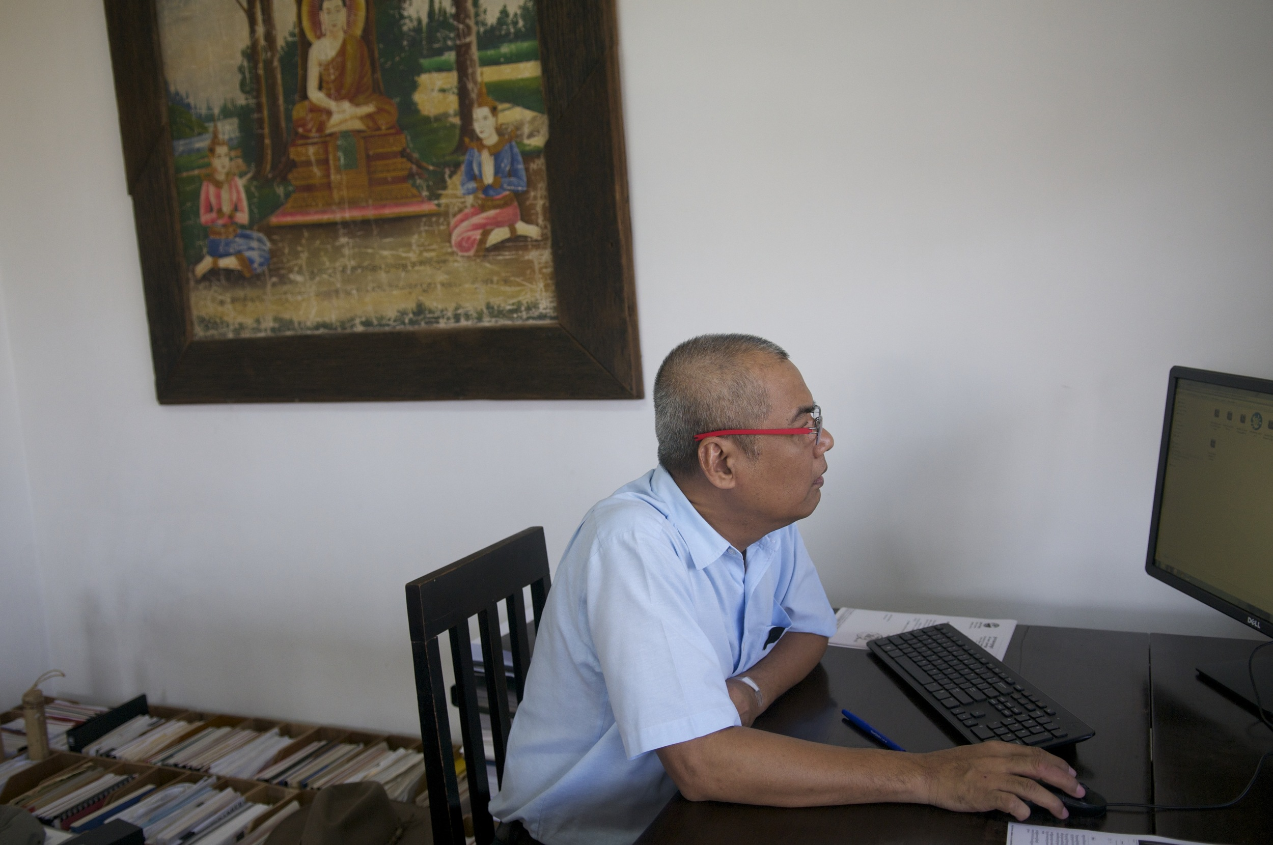 Youk Chhang in his office at Documentation Center of Cambodia. (Credit: Dene-Hern Chen)