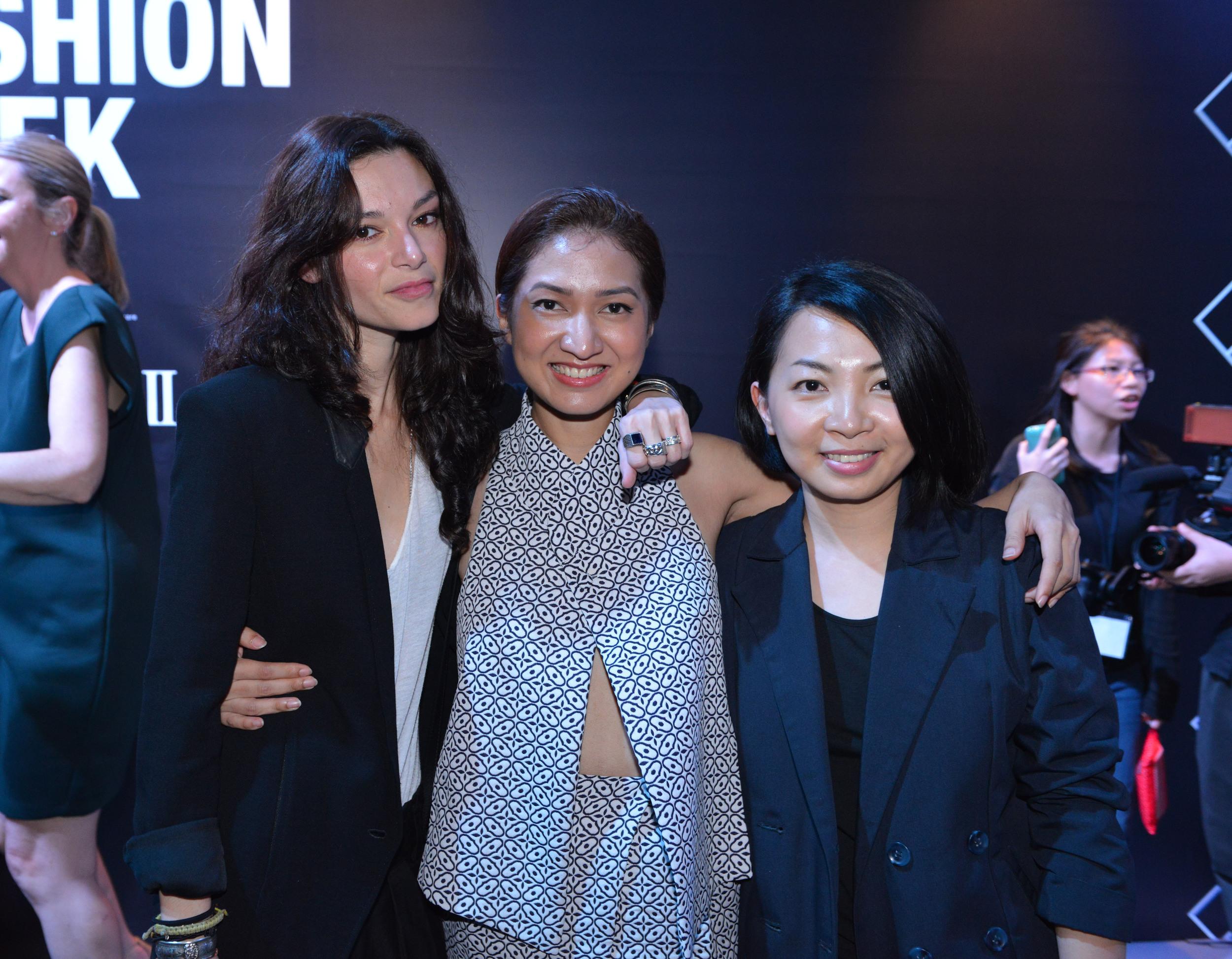 Singaporean designers Chelsea Scott-Blackhall of Dzojchen, Priscilla Shunmugam of Ong Shunmugam, and Sabrina Goh of Elohim (Credit: Adrian Thoo)