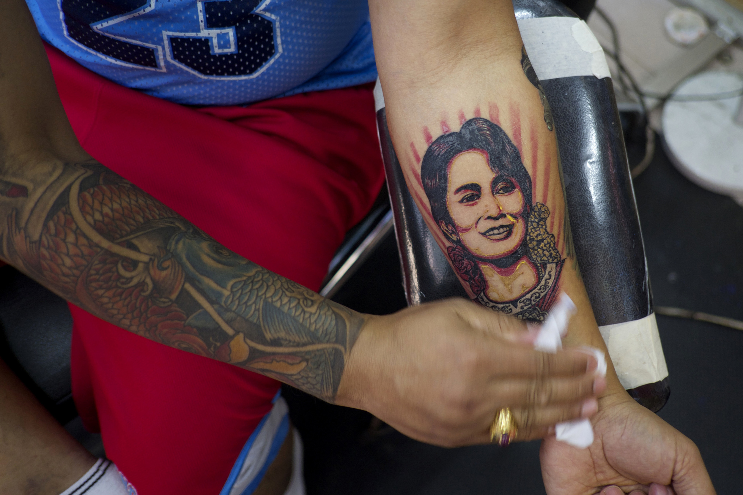 Kyaw Say got his Aung San Suu Kyi tattoo the day after the election. (Credit: Dene-Hern Chen)