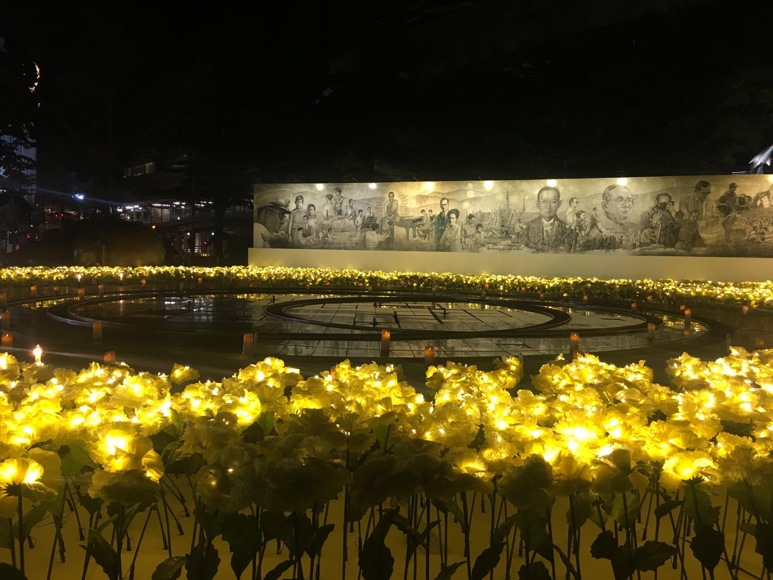 A elaborate display mourning the late Thai King Bhumibol Adulyadej is set up at Central World, Bangkok. (Credit: Dene-Hern Chen)