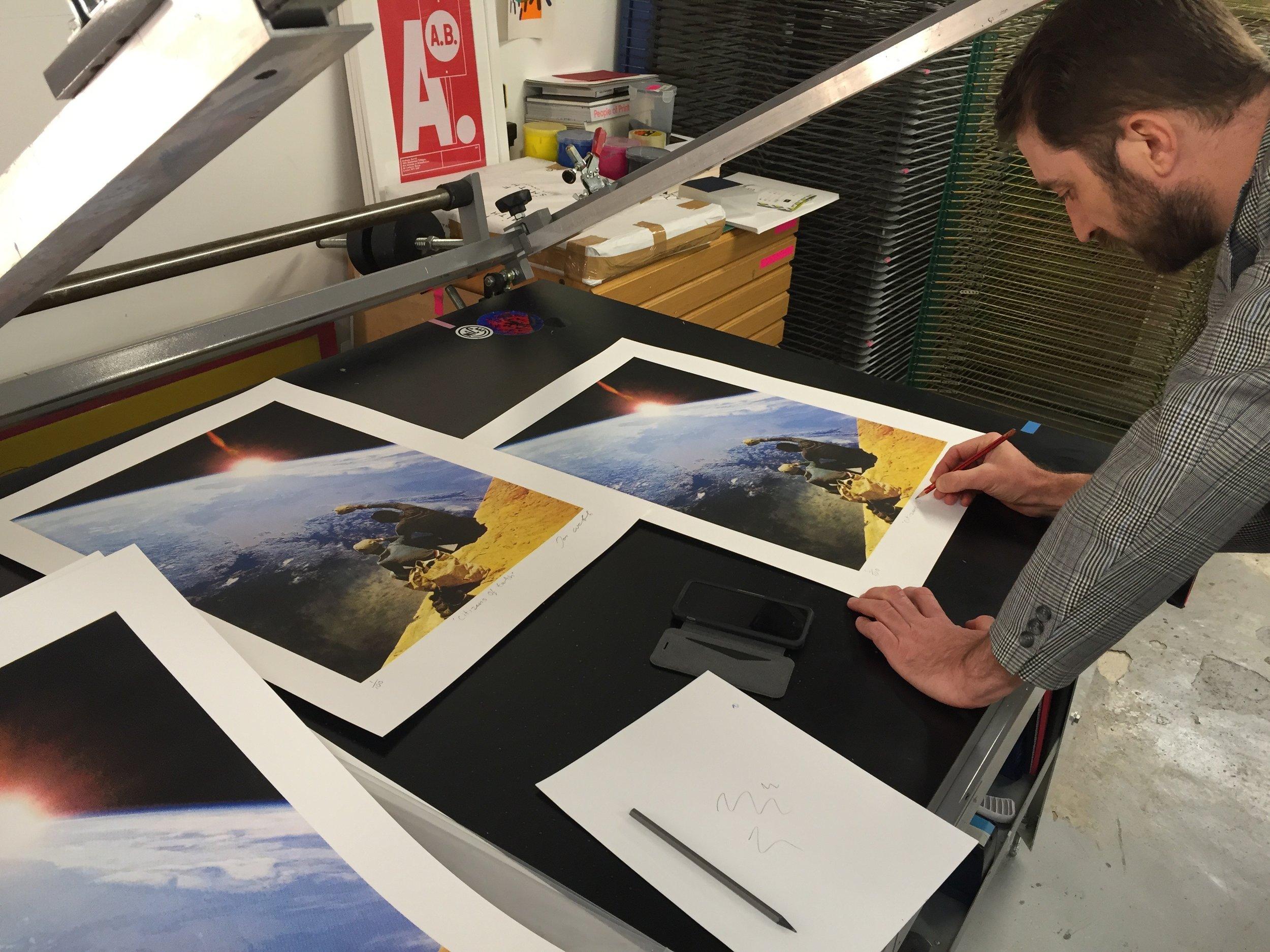 Joe Webb signing the edition.