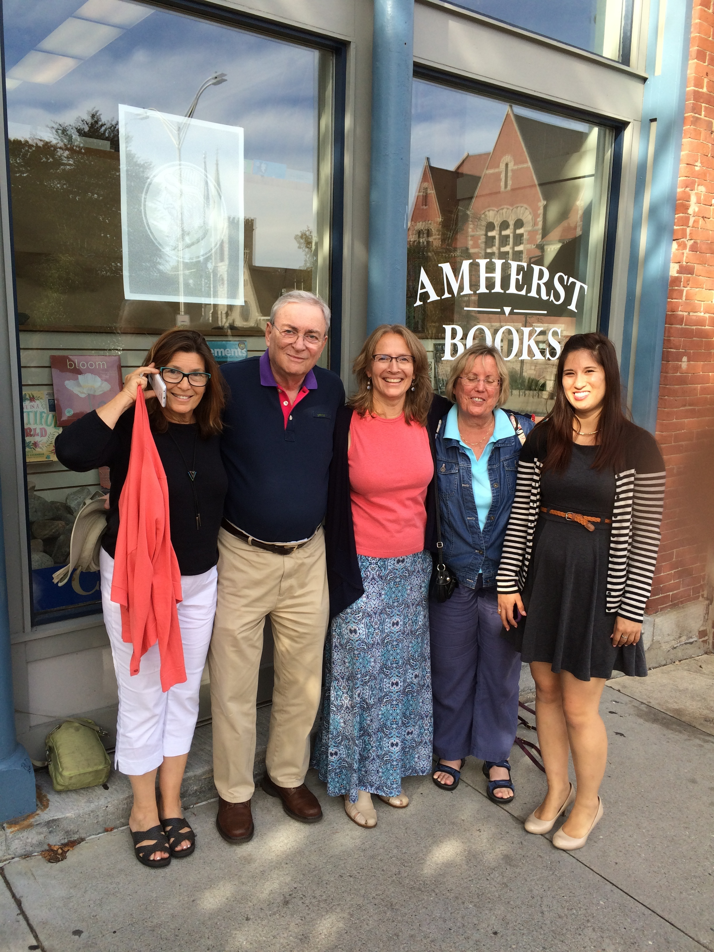 Beloved former clients visit us in Amherst from Alabama almost every summer. ( From left)  Kitty, Steve, Ali, Kathy, and Vinsula