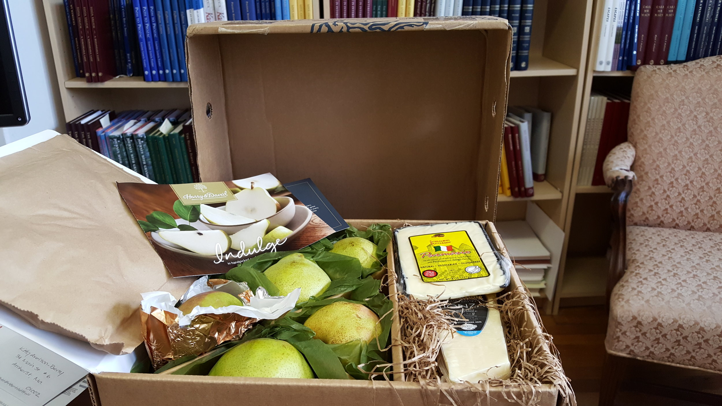 A client's gift of scrumptious pears and cheeses after his book was done!