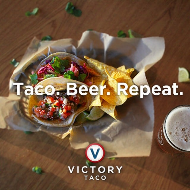 Sip a beer. Take a bite of taco. Repeat. Beer and tacos at @whitedogbrewing - what a combo! #craftbeer #whitedogbrewing #victorytaco #vicyorytacos #tacos #downtownbozeman #bozeman