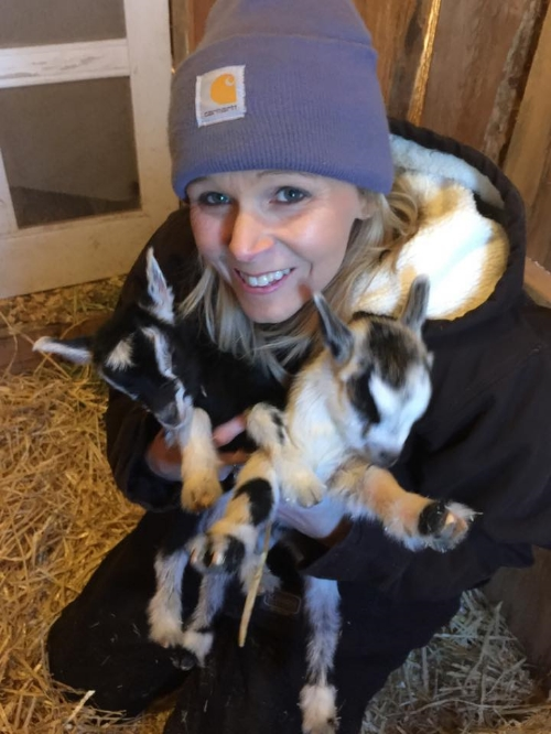 Laura is city girl turned country and spends her days homeschooling her two children, tending the gardens and keeping an eye the chickens.    She is trying to get the bosses to allow goats on the property.   **update*** Laura won and we now have two adorable goats!  ***second update.. our adorable goat had baby goats!!!  so now we have four!!**