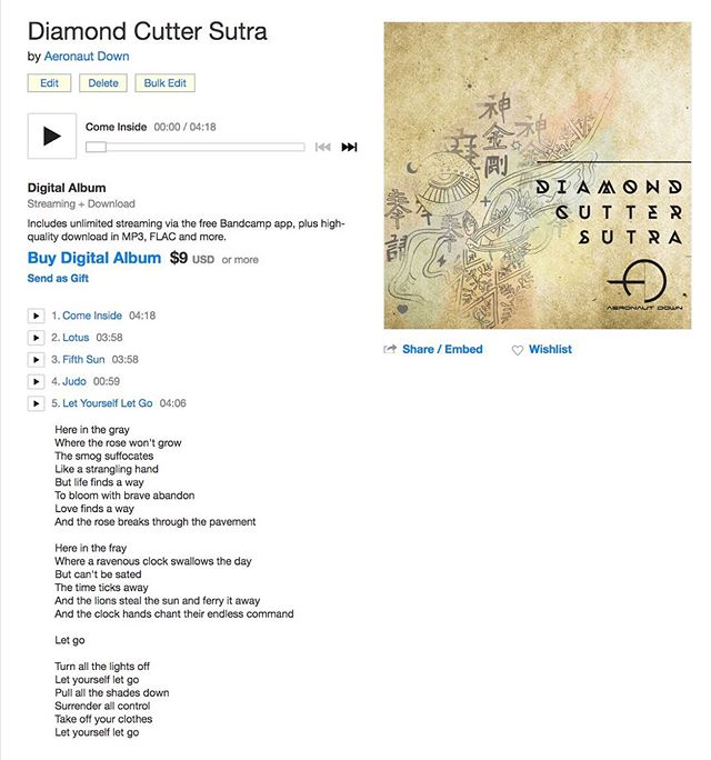 """""""Diamond Cutter Sutra"""" is up on @bandcamp, complete with lyrics for each song. Go listen and follow along! All you audiophiles can download a lossless version of the album here as well 🎧🤘🏼"""