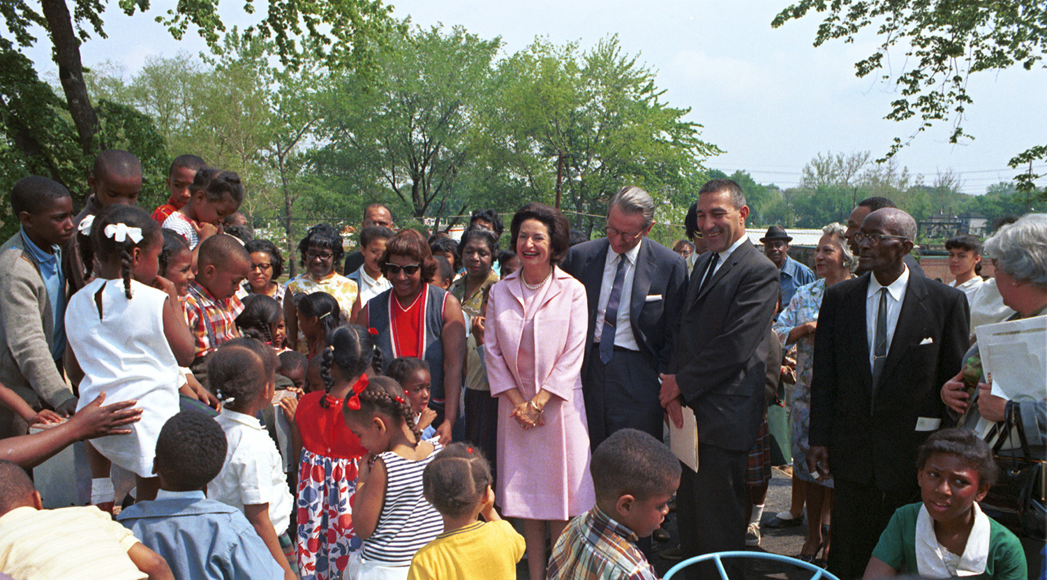 Lady Bird Johnson at the 1966 dedication of the new Watts Branch Park in Northeast Washington, D.C. Photo courtesy LBJ Library.