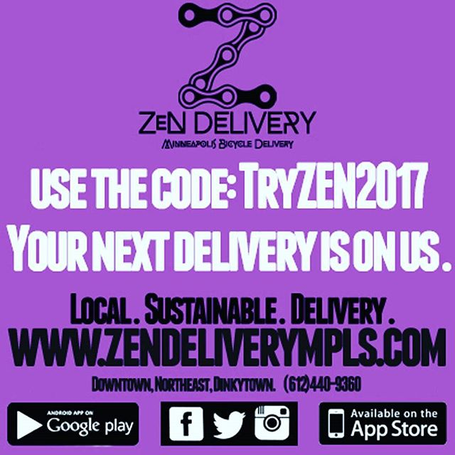 Tag a friend and it's like getting 2 free deliveries!  Download the app! Order online @ www.zendeliverympls.com  #zendelivery  #swaginthebag  #fooddelivery  #mplsfoodie  #minneapolis  #mpls  #bikemessenger  #messlife  #food  #foodie  #foodstagram  #foodgasm  #foodlove  #instafood  #delicious  #lunch  #dinner  #drink  #eat  #eatlocal  #whynot  #catering