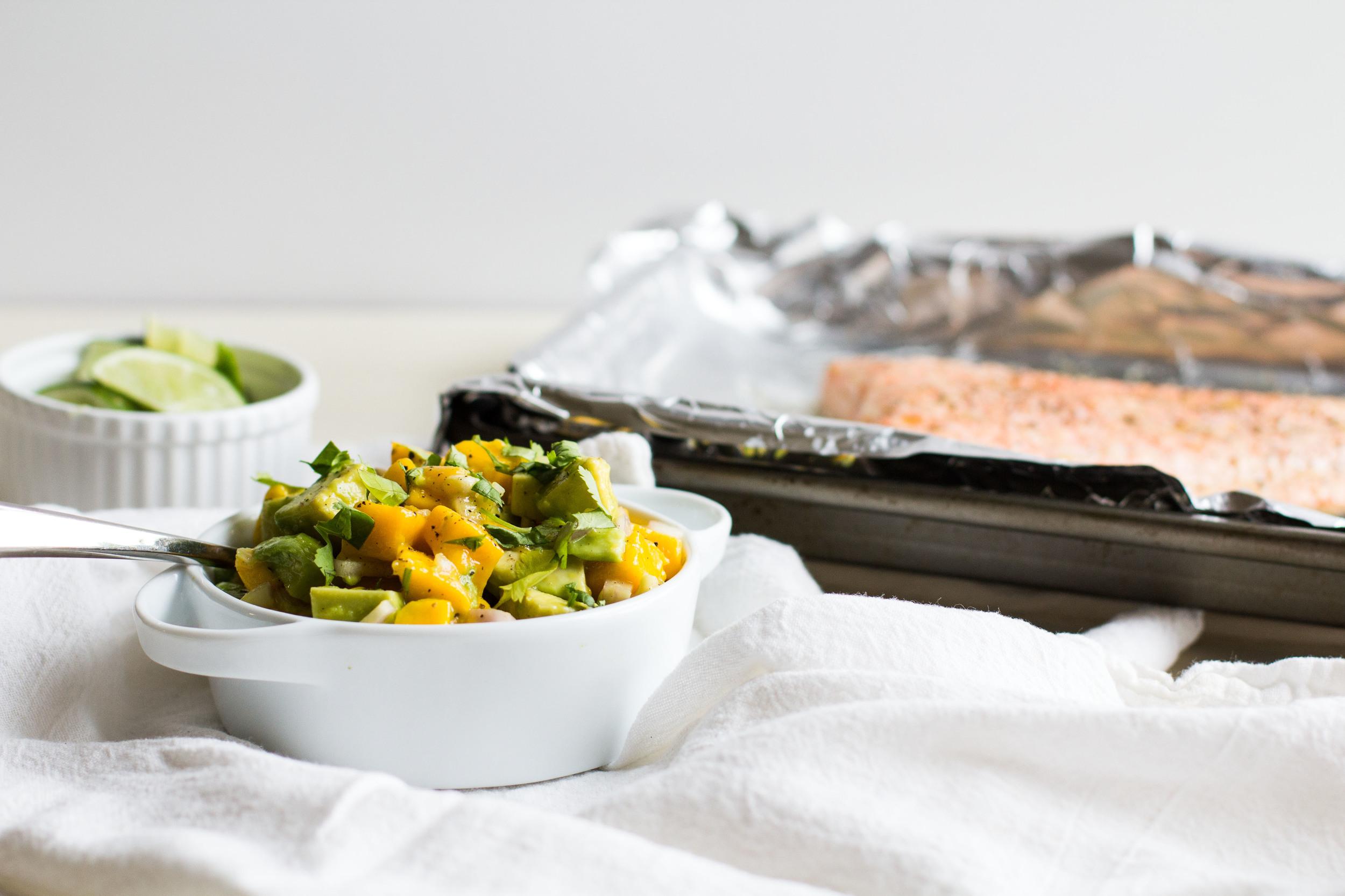 Baked Salmon with Mango-Avocado Salsa   Sarah J. Hauser