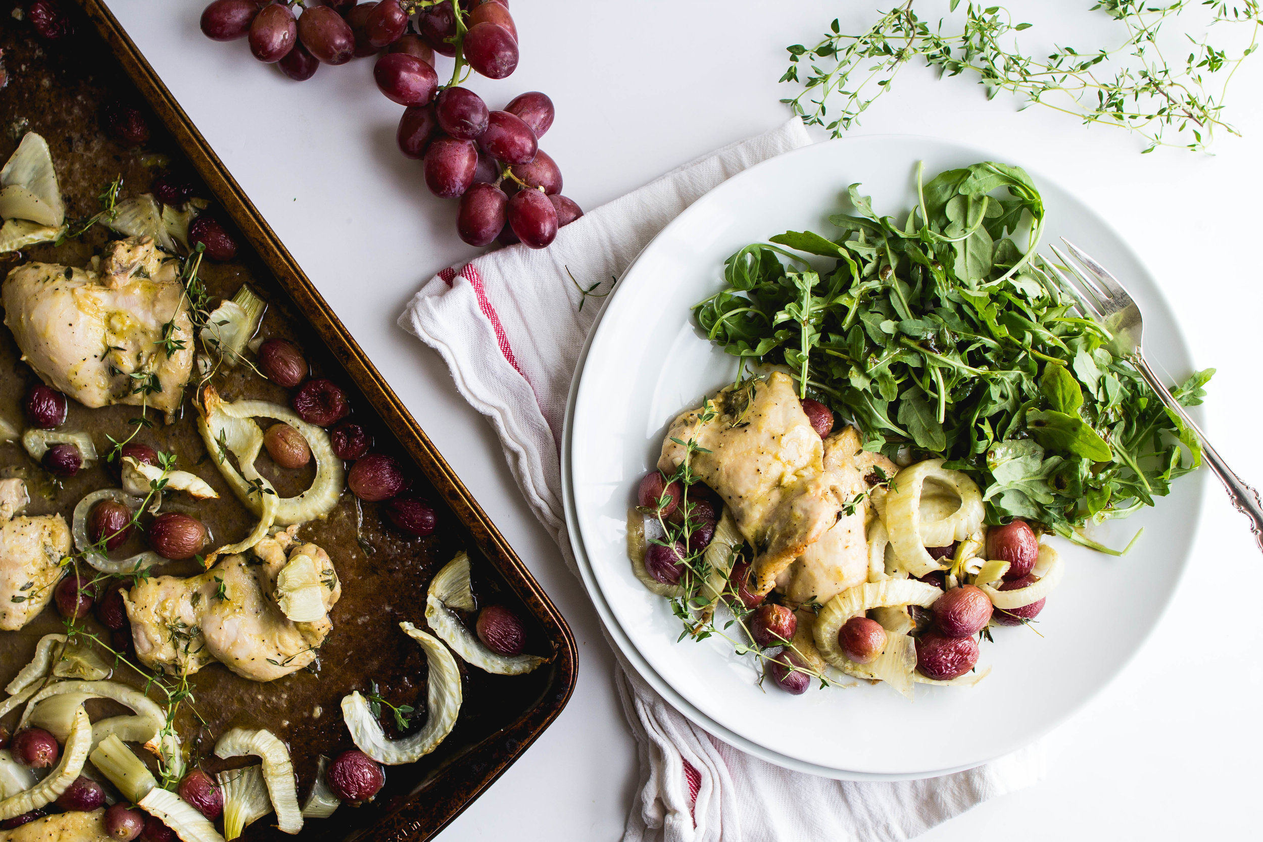 Roasted Chicken Thighs with Fennel + Grapes