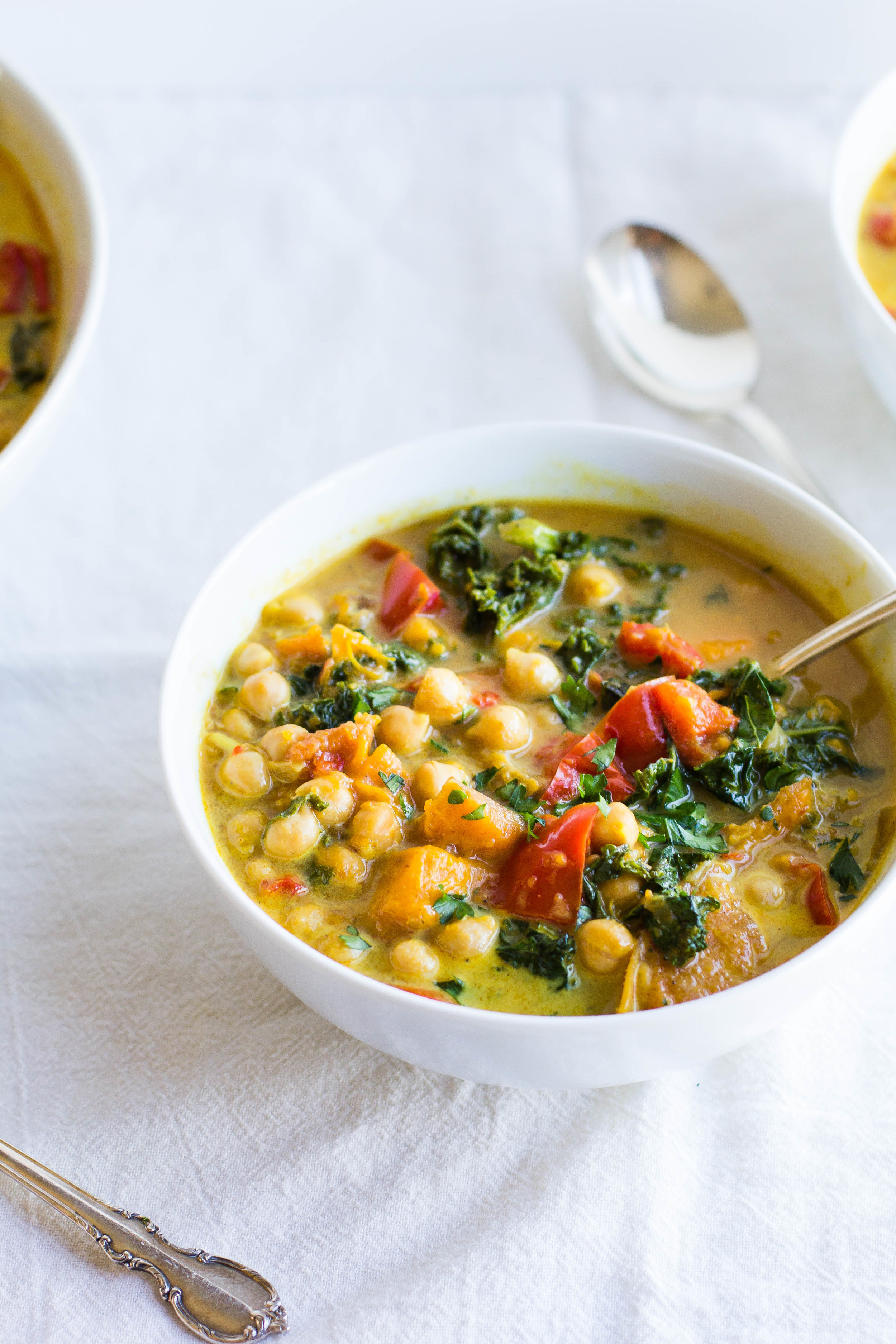 Slow Cooker Curry Stew with Chickpeas, Sweet Potatoes + Kale | Sarah J. Hauser