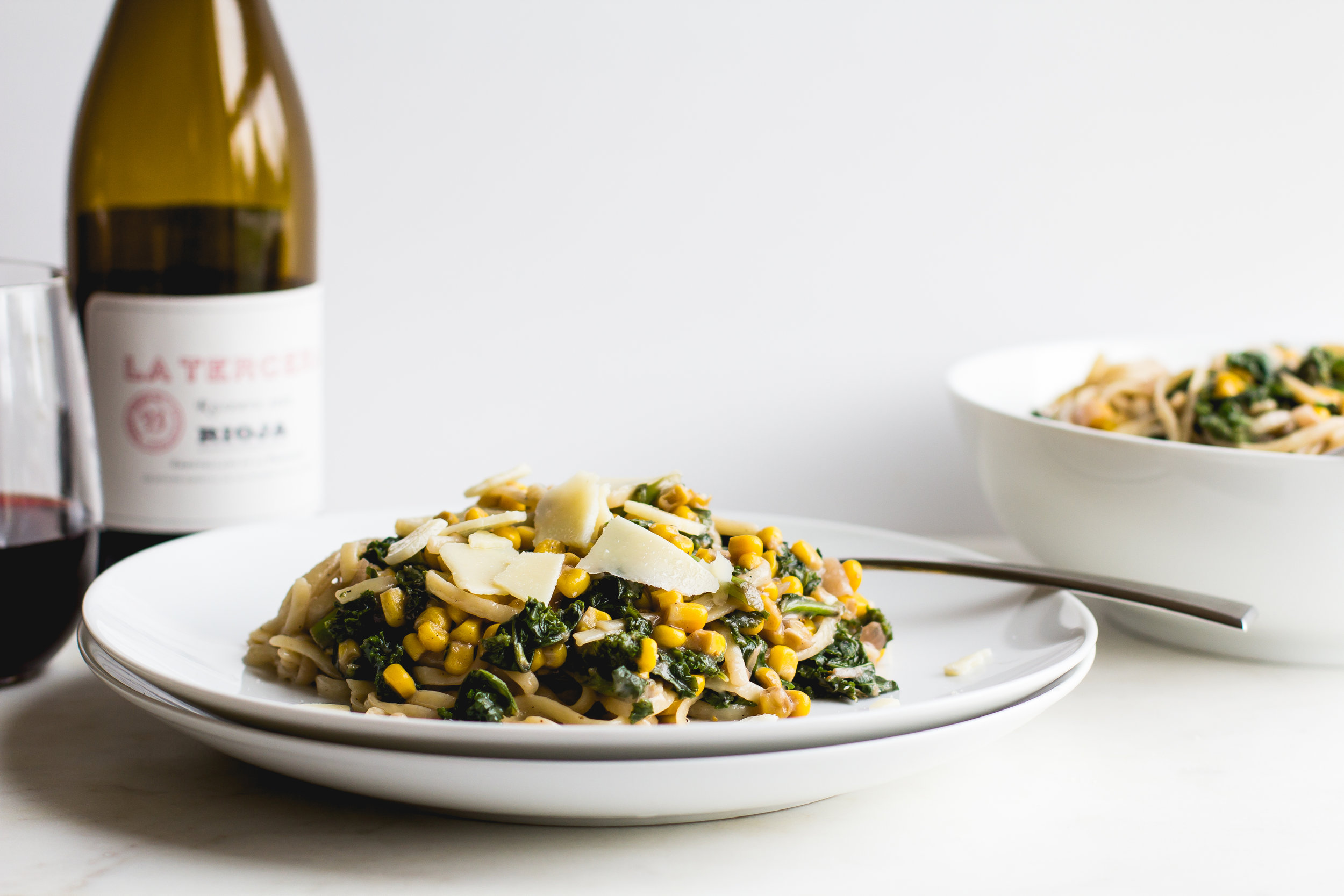 Linguini with Red Wine, Corn + Kale