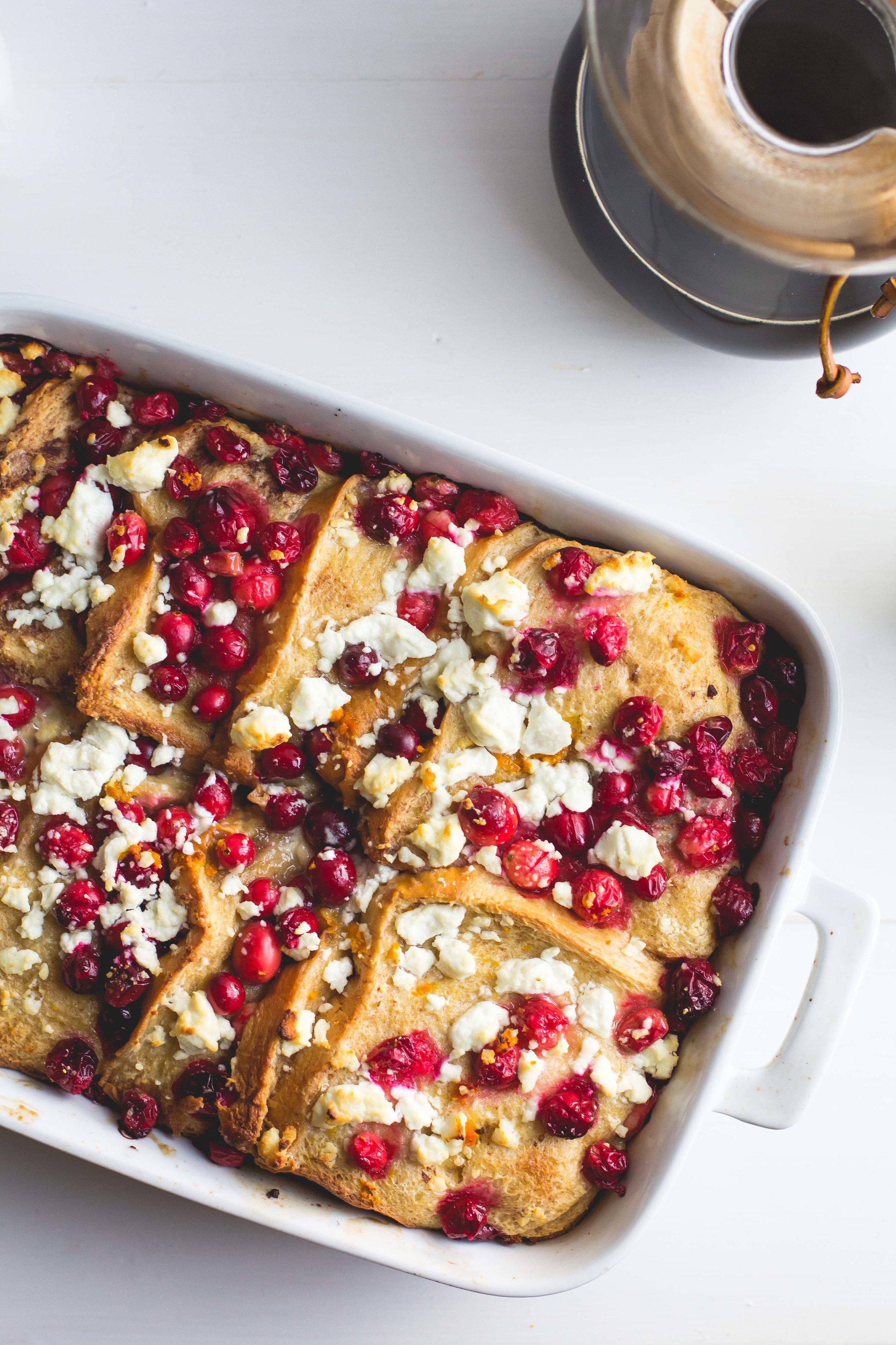 Cranberry + Goat Cheese Baked French Toast