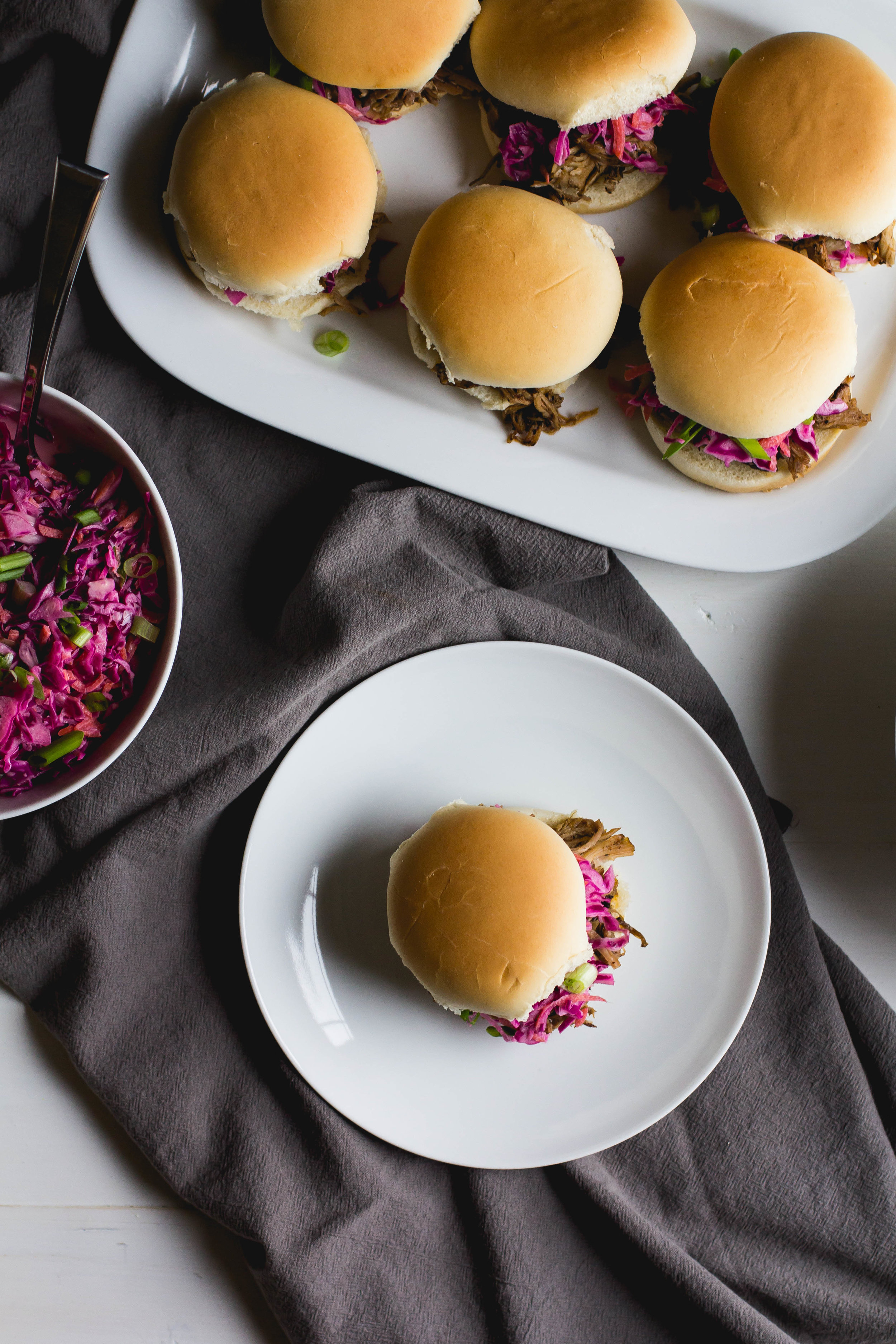 Coffee Rubbed Pulled Pork Sliders with Red Cabbage Slaw