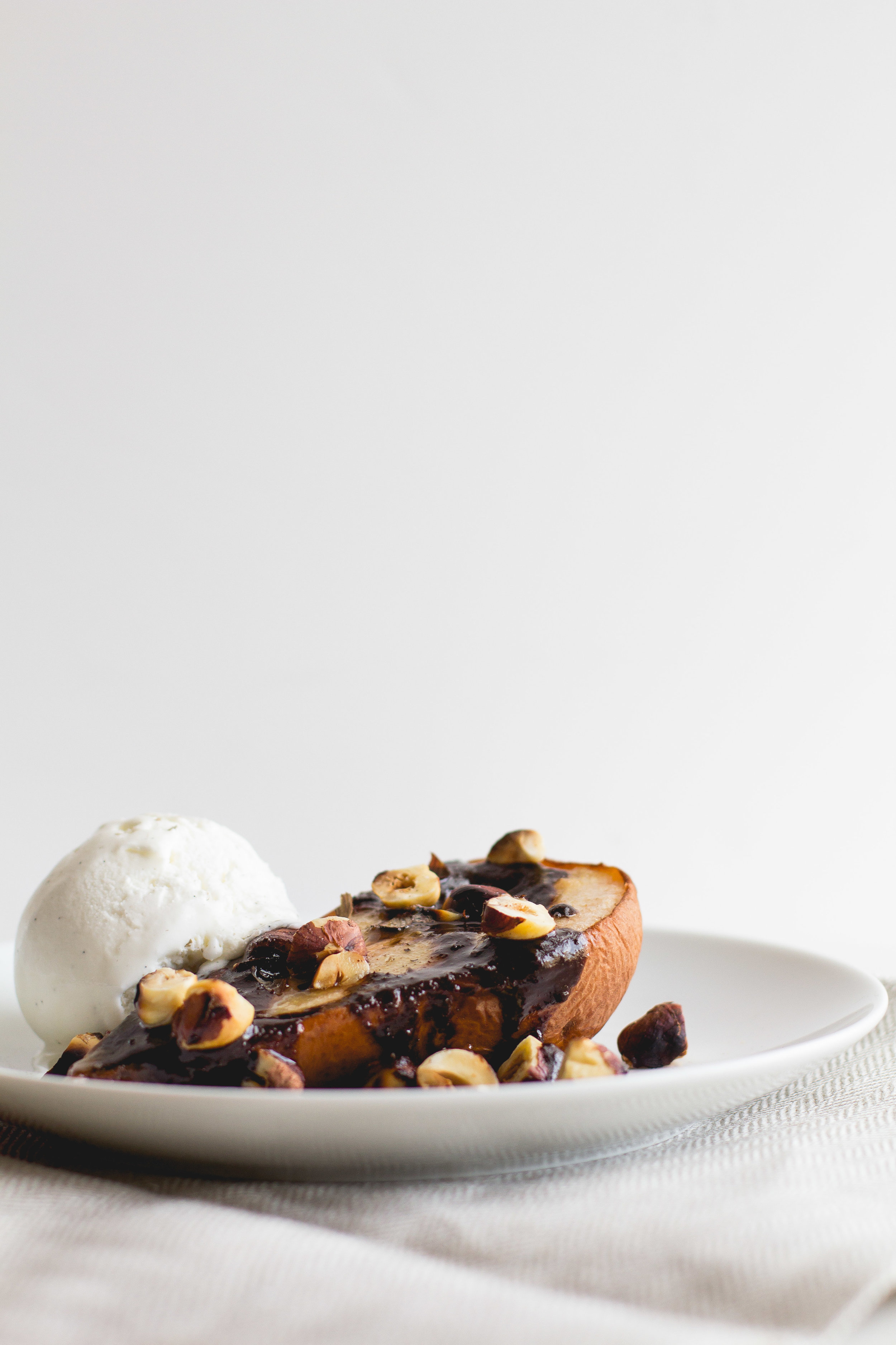 Roasted Pears with Buttery Chocolate Sauce + Smoked Sea Salt