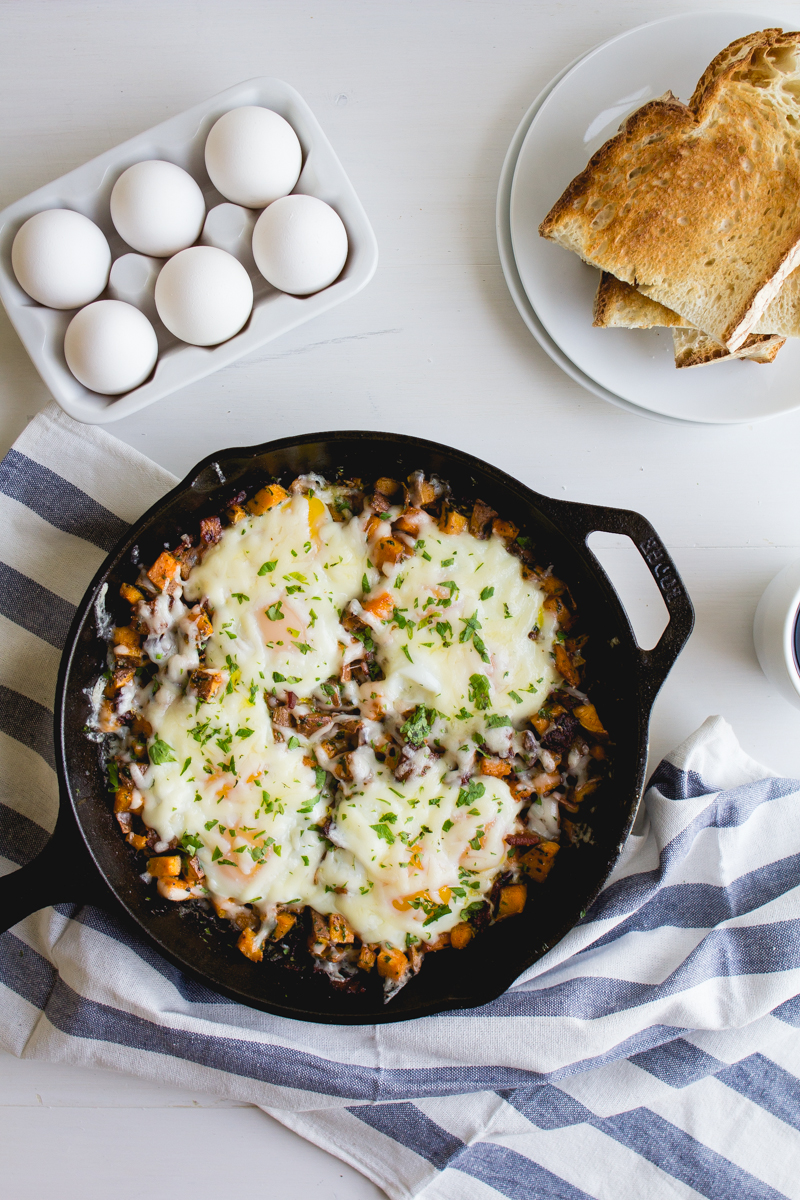 Skillet-Baked Eggs with Sweet Potatoes + Bacon