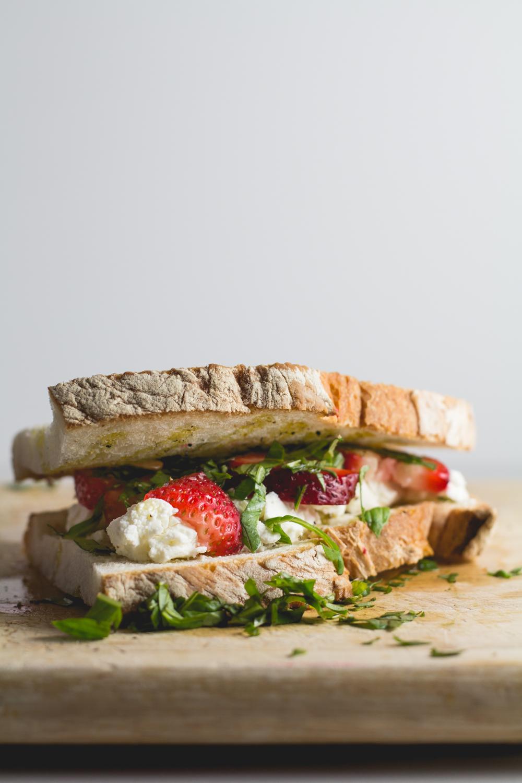 Strawberry, Basil + Goat Cheese Panini