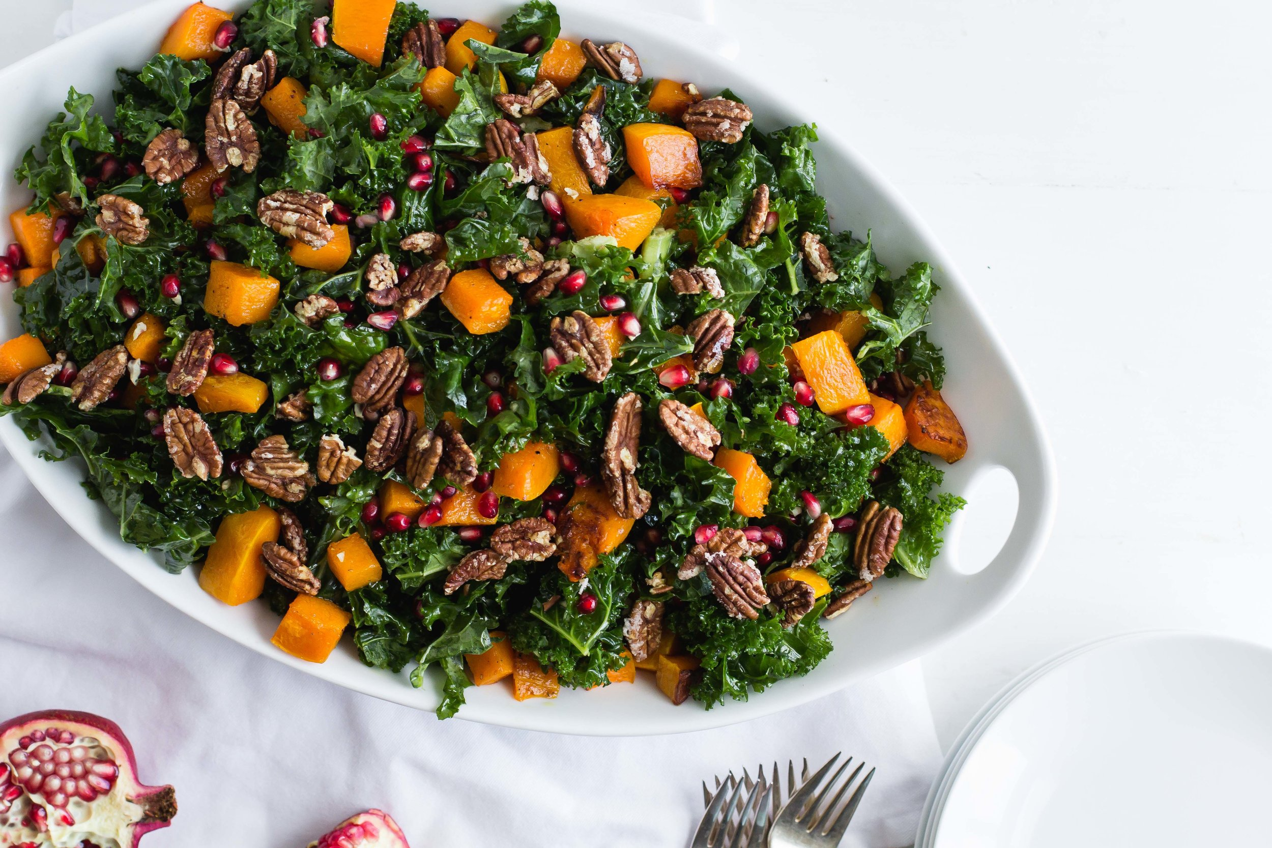 Roasted Squash + Kale Salad with Maple-Dijon Vinaigrette