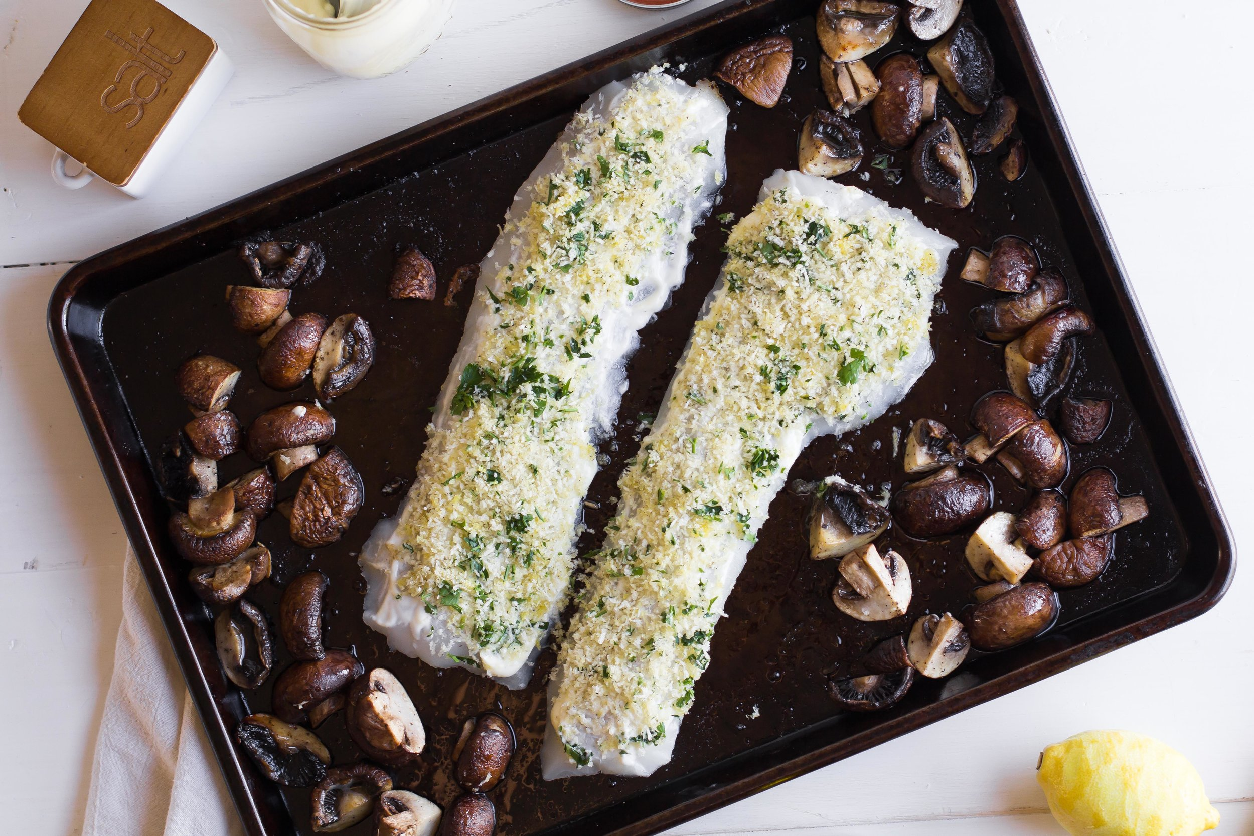 Panko-Crusted Pacific Cod with Roasted Mushrooms + Sauteed Spinach | Sarah J. Hauser