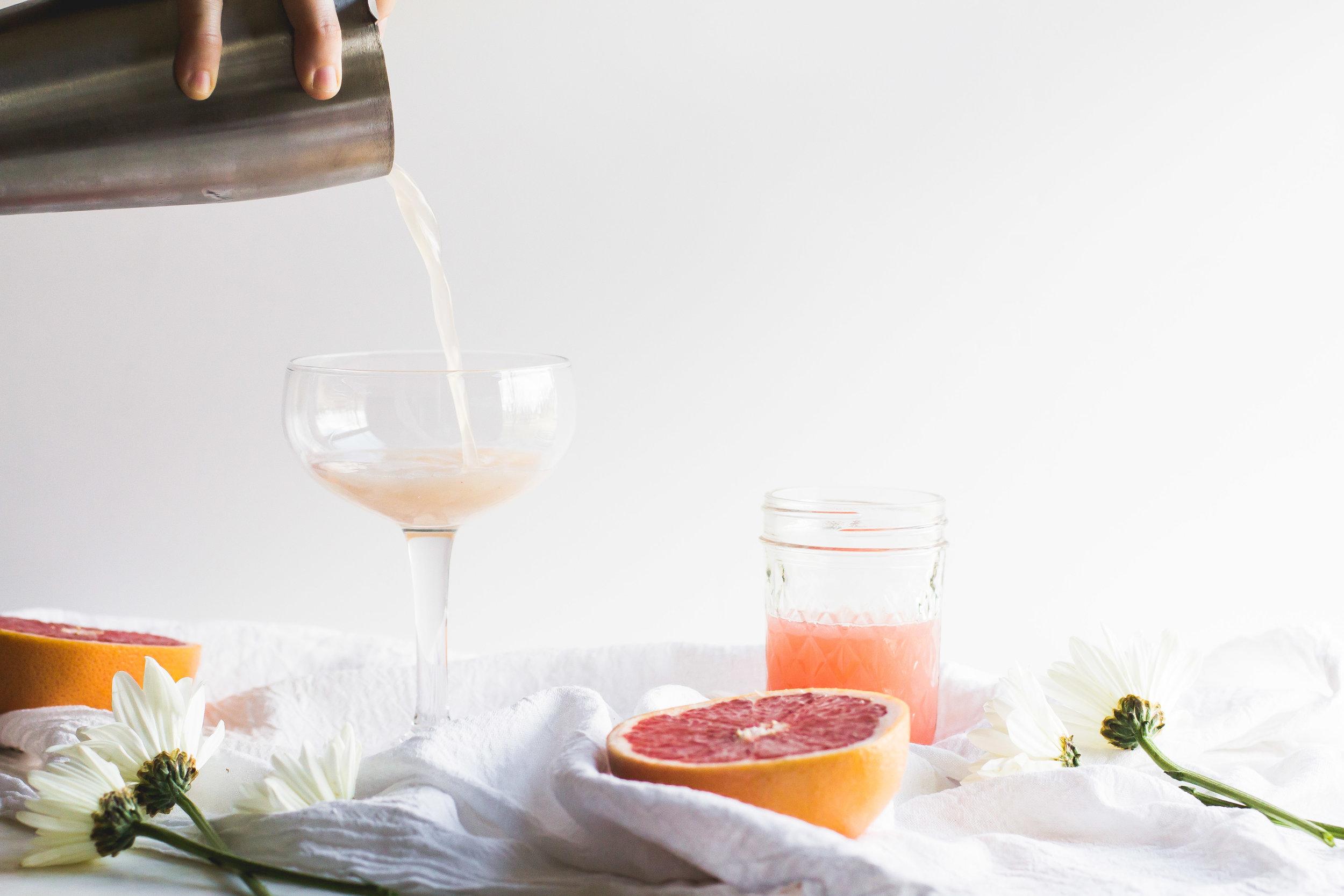 Grapefruit, Elderflower + Tequila Cocktail - Sarah J. Hauser