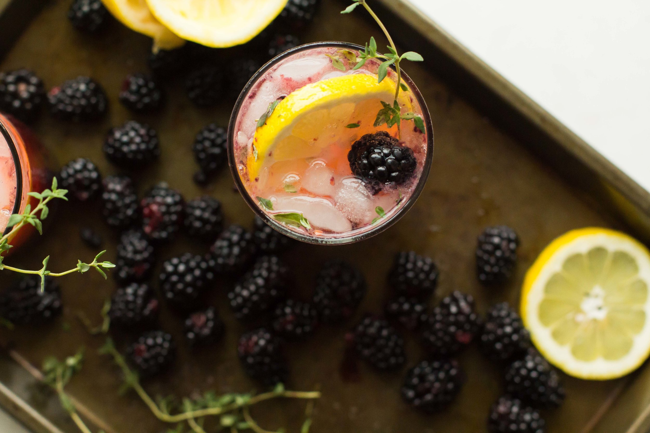 Blackberry-Thyme Vodka Collins - Sarah J. Hauser