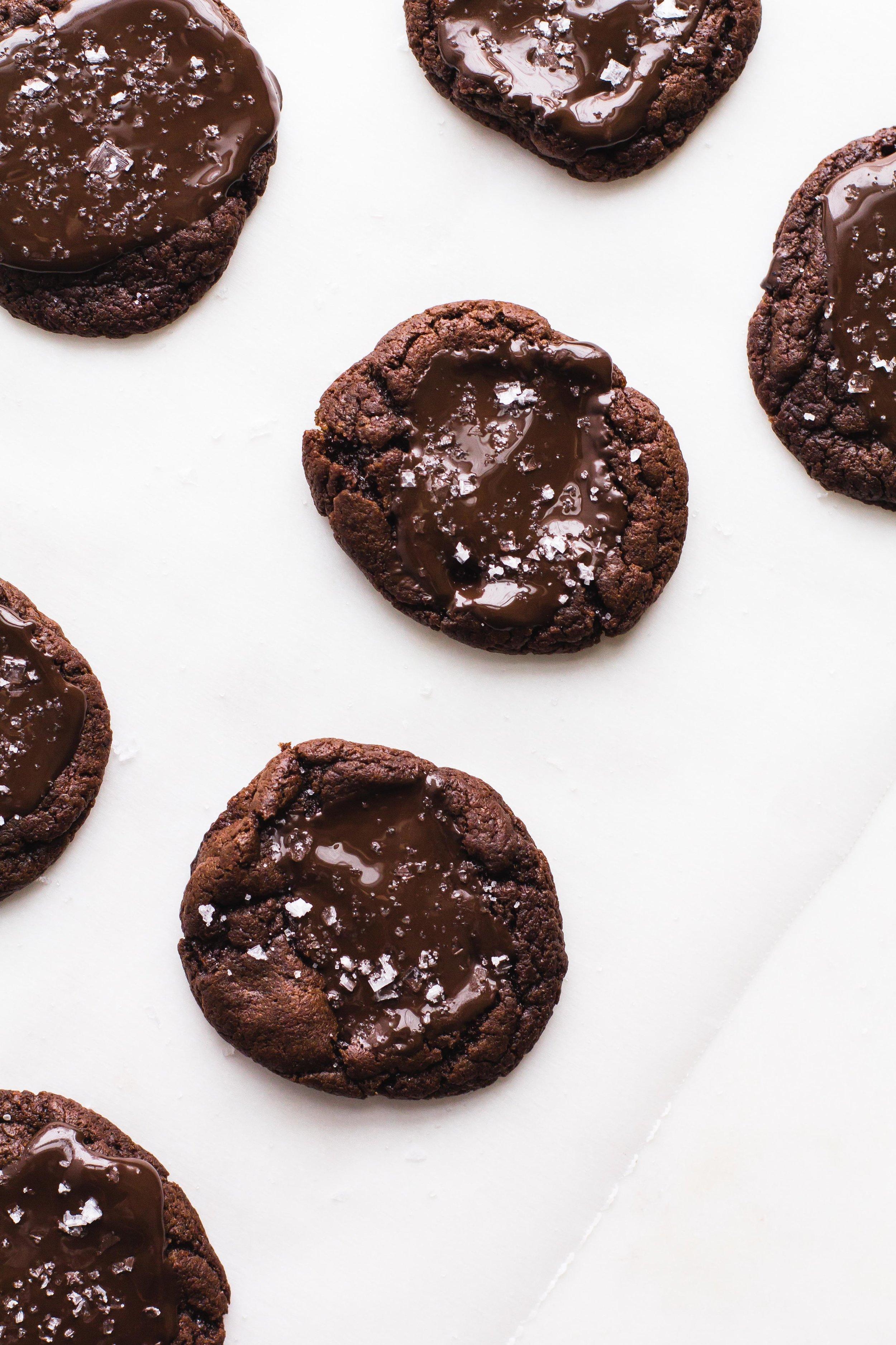 Double Chocolate + Sea Salt Christmas Cookies | Sarah J. Hauser