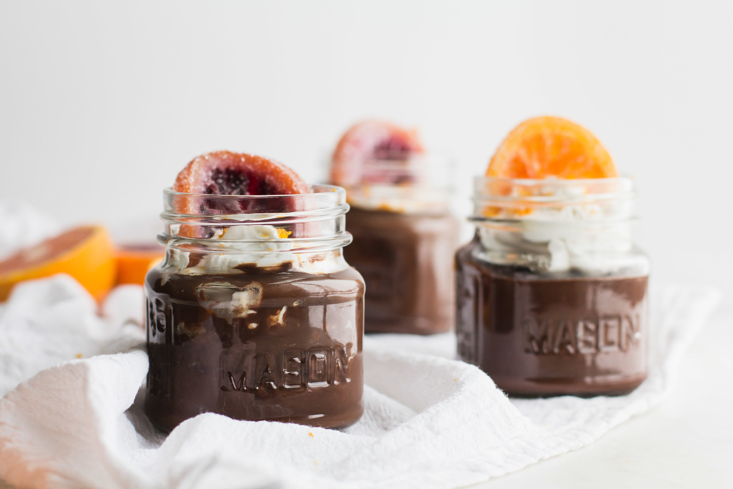 Dairy Free (and Vegan!) Chocolate Pudding with Candied Orange Slices | Sarah J. Hauser