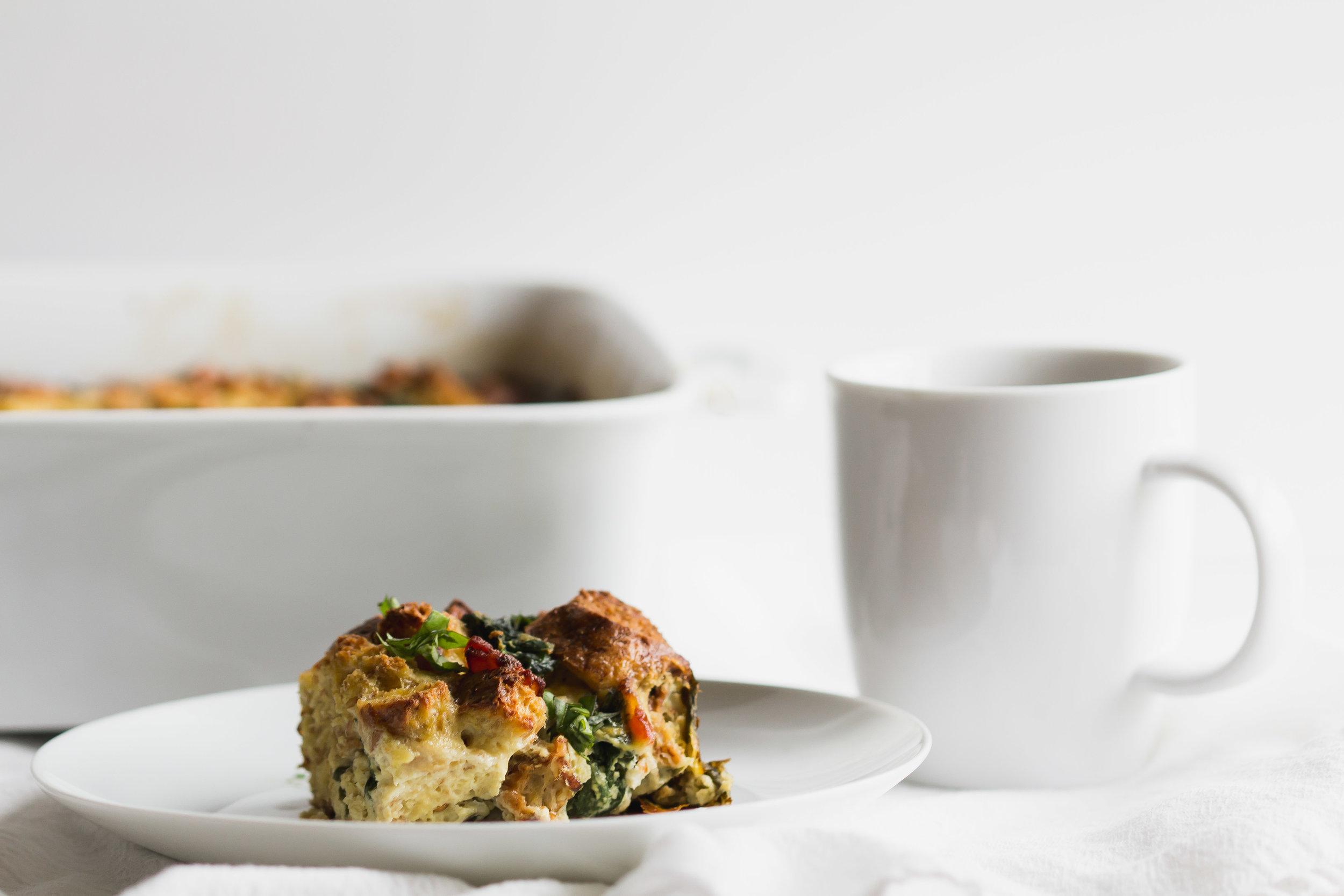 Bacon, Asiago + Spinach Breakfast Casserole | Sarah J. Hauser